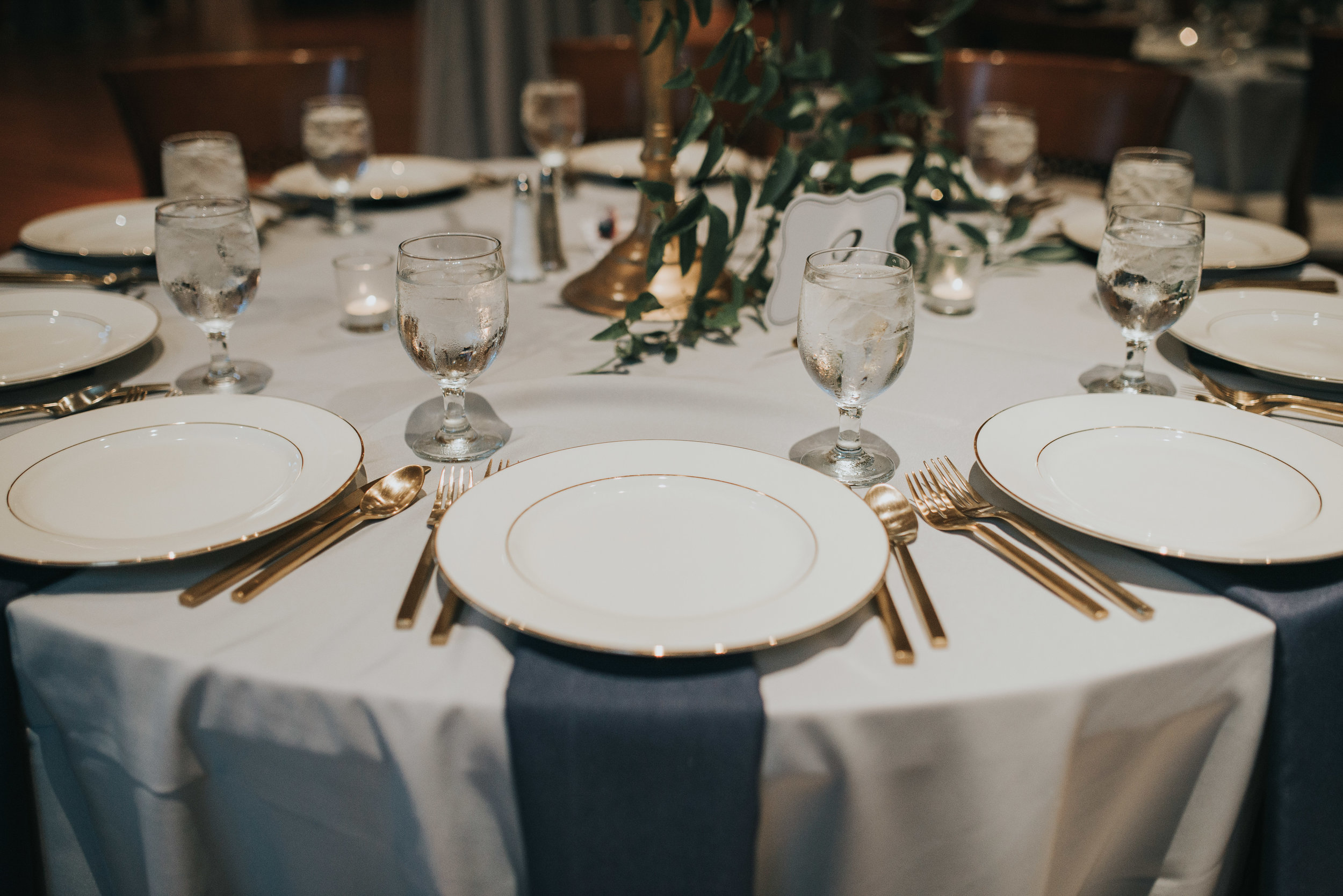 Navy and gold table place setting at Atlanta History Center