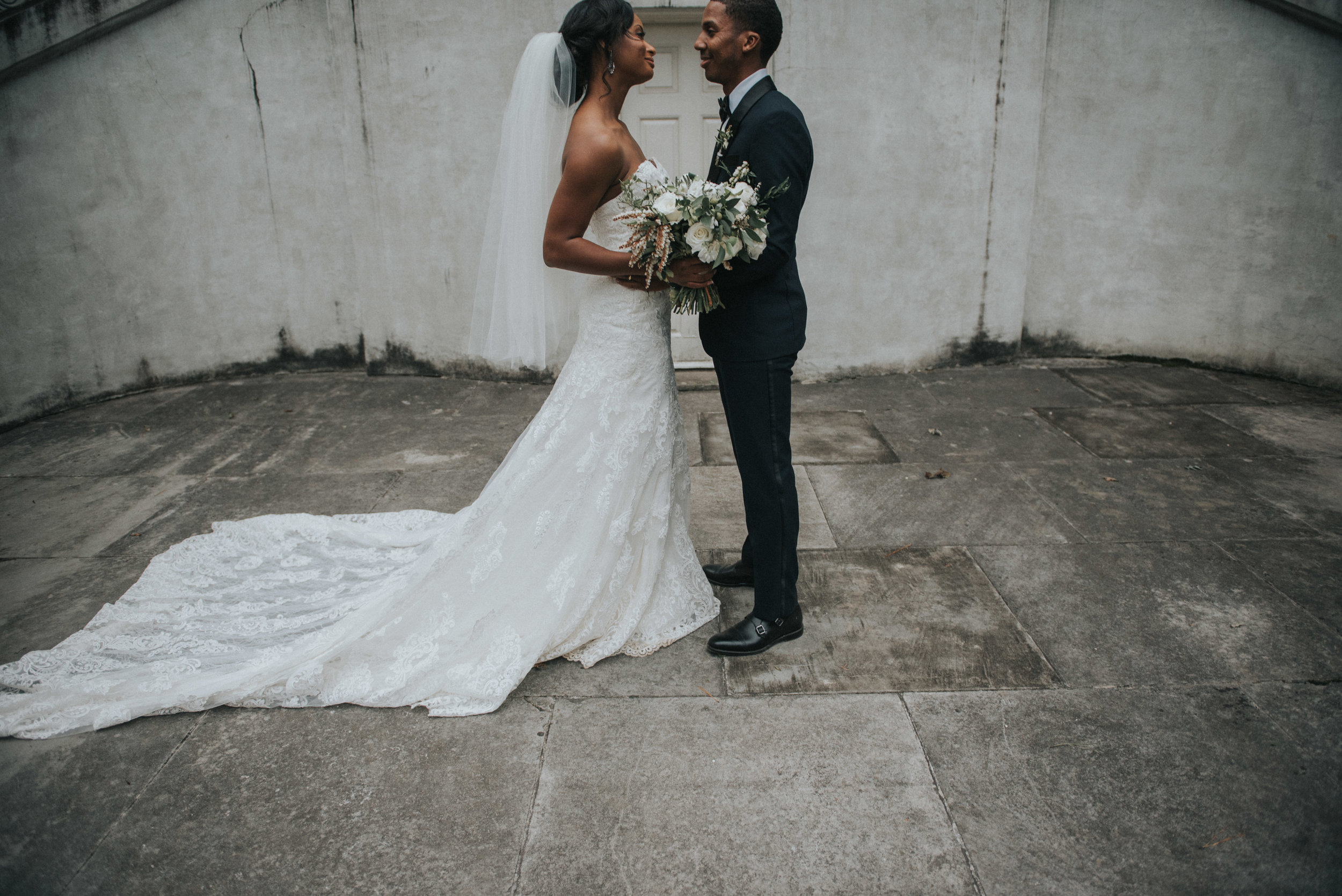 Bride and groom nose-to-nose