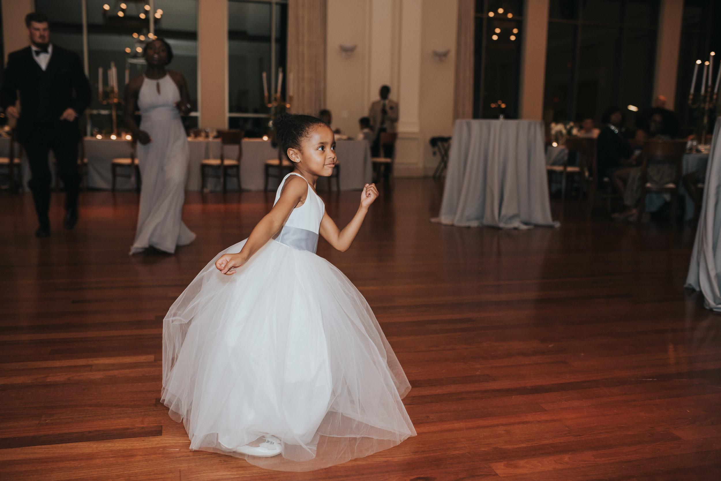 Flower girl dances at Atlanta History Center