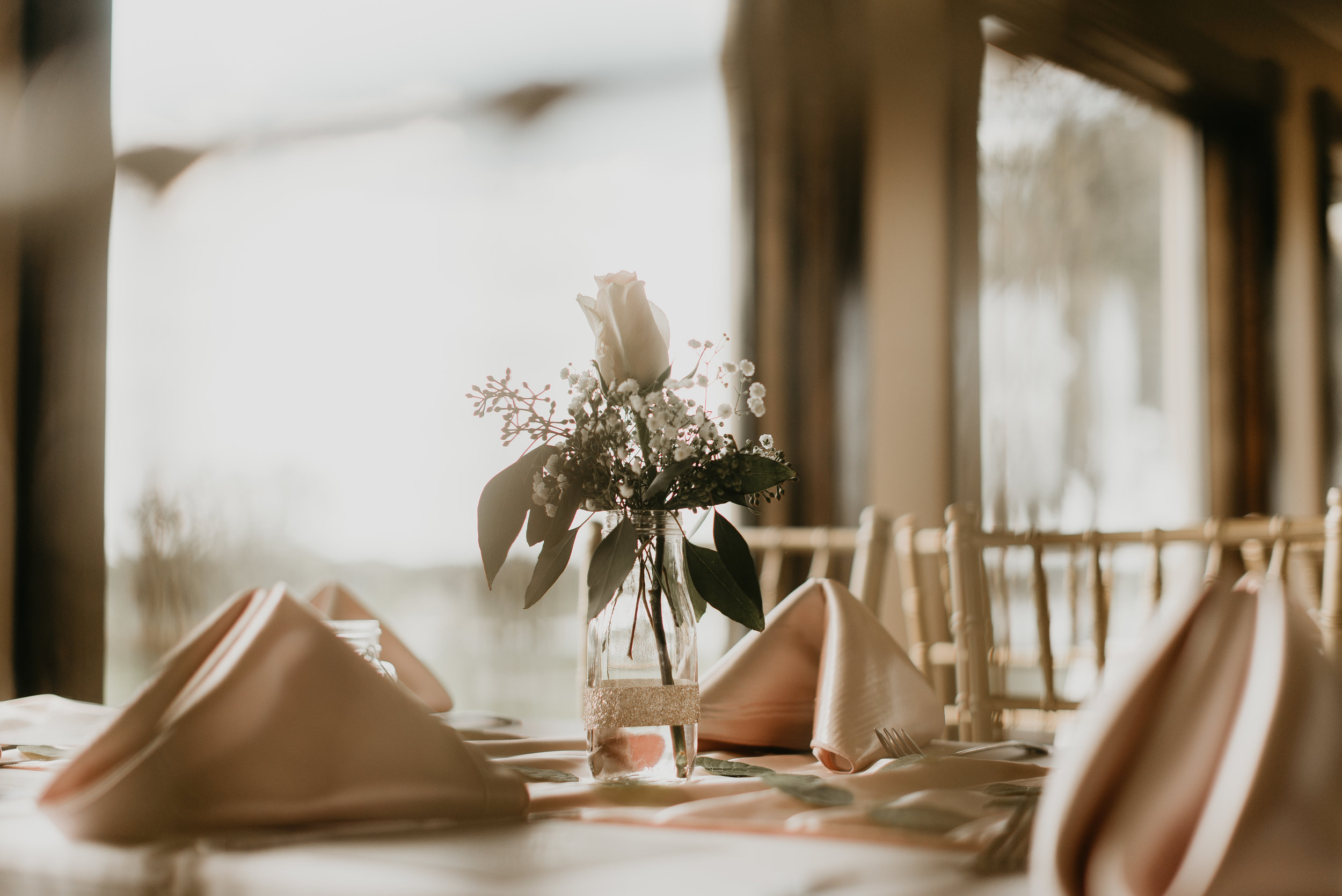 Details of wedding reception tables at MetroWest Golf Club in Orlando, FL