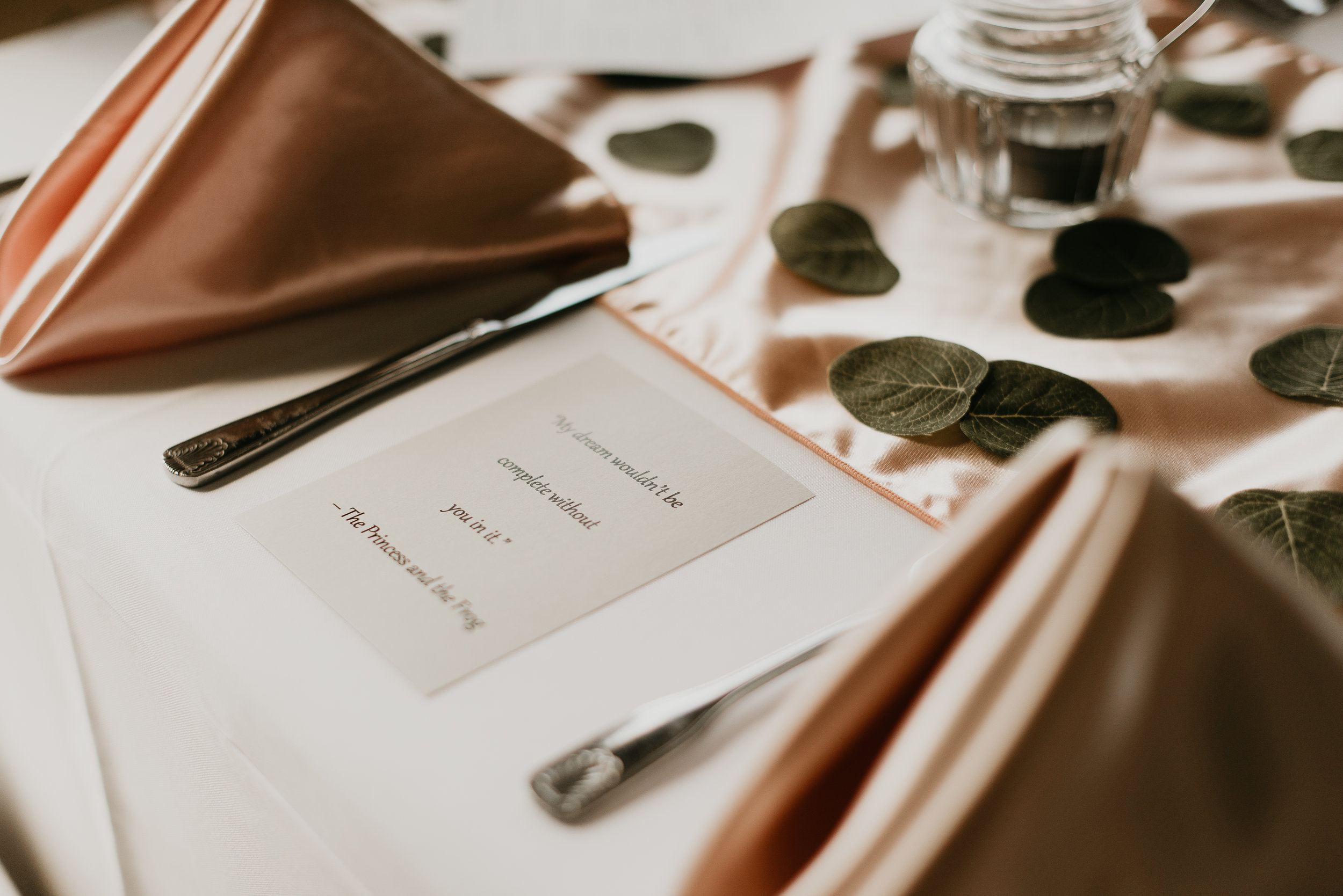 Reception table place setting at MetroWest Golf Club in Orlando, FL
