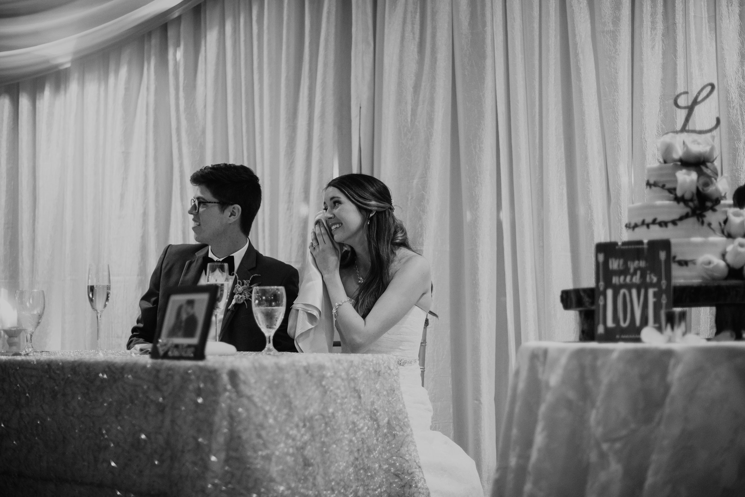 Newlyweds emotional during toasts at MetroWest Golf Club in Orlando, FL