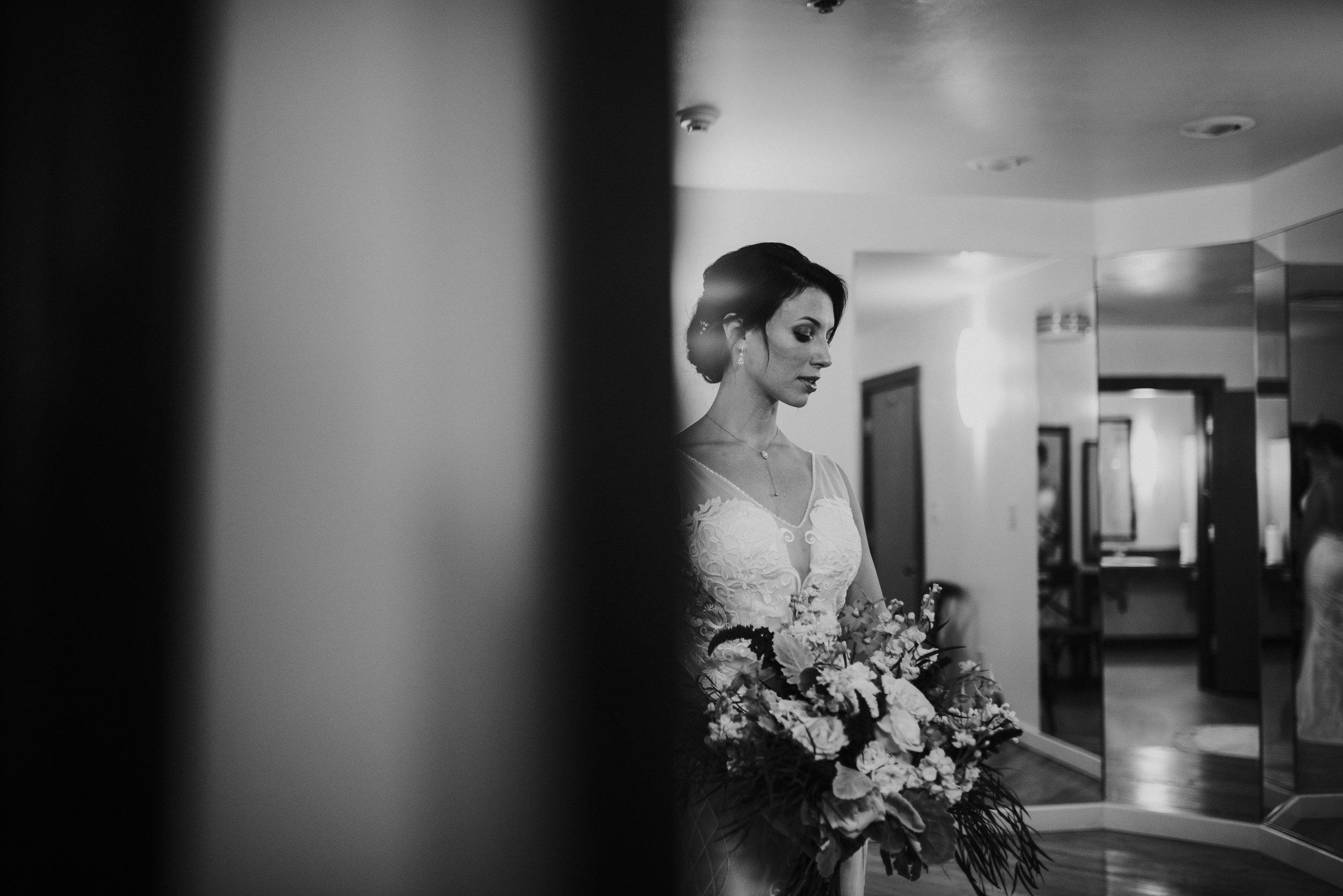 Bride in wedding dress at The Trolley Barn in Atlanta, GA