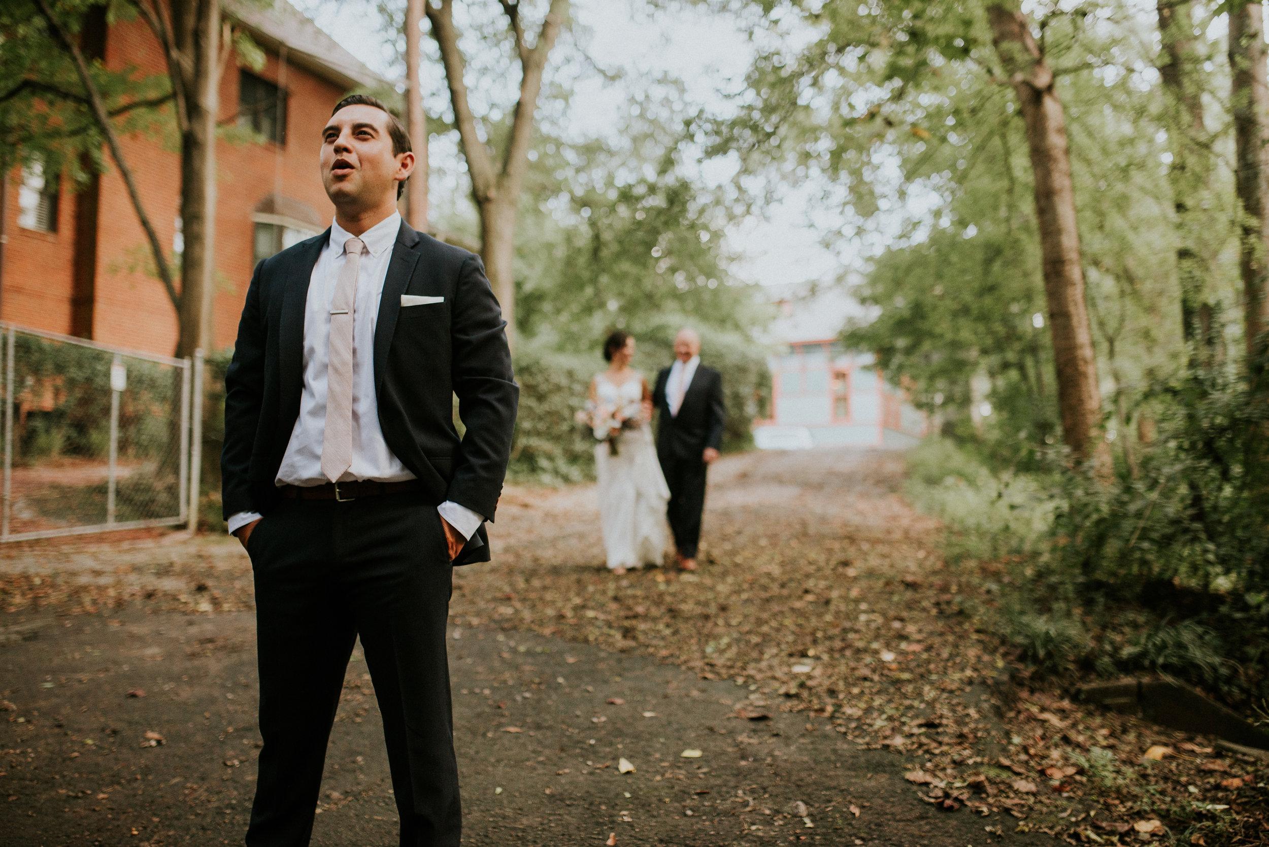 Bride and groom first look at The Trolley Barn in Atlanta, GA