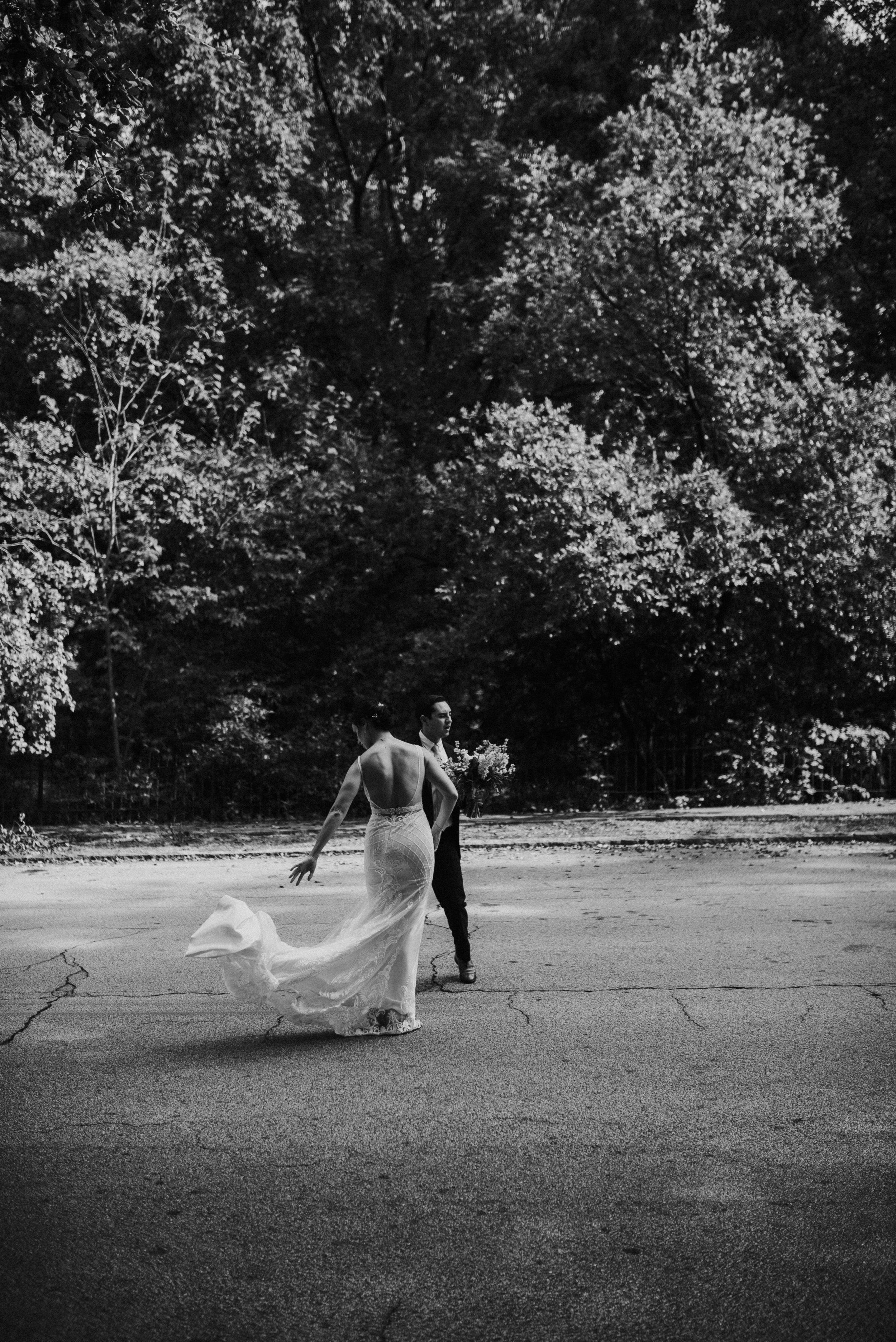 Bride's windblown dress at The Trolley Barn in Atlanta, GA