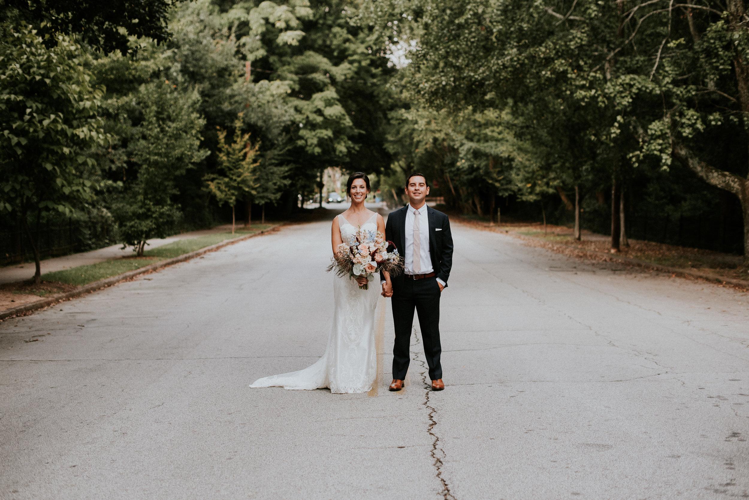 Bride and groom portrait at The Trolley Barn in Atlanta, GA