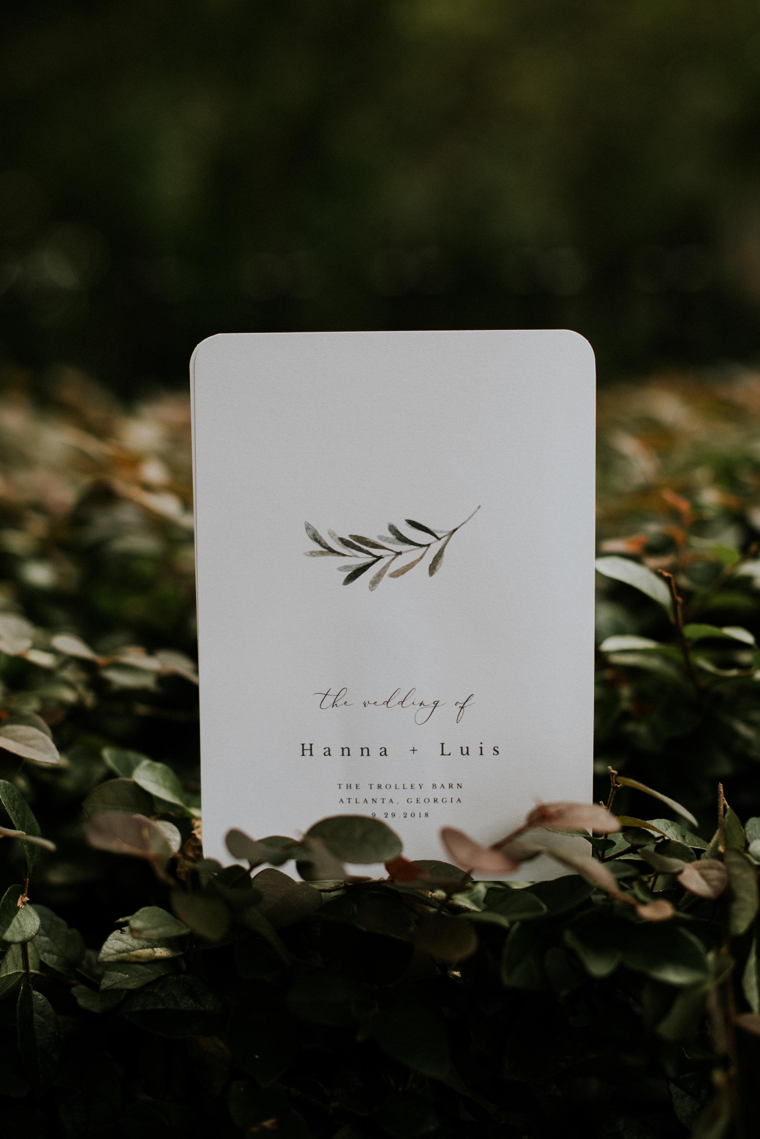 Minimalist wedding program