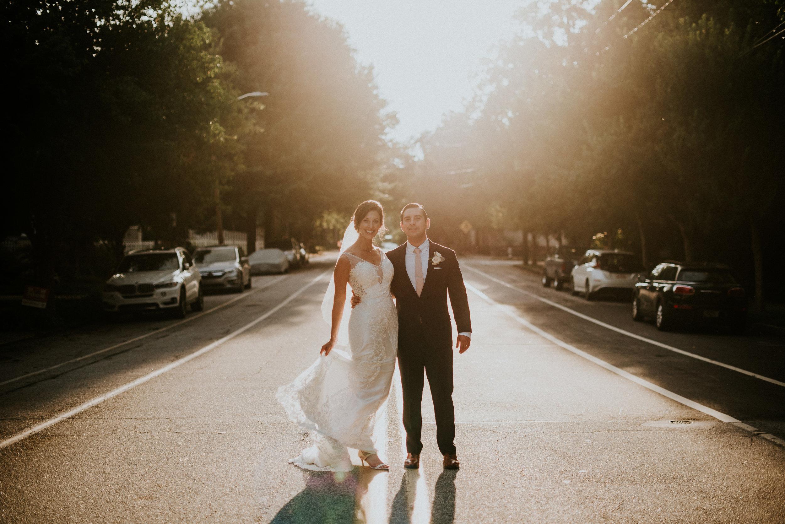 Newlywed portraits during golden hour in Atlanta, GA