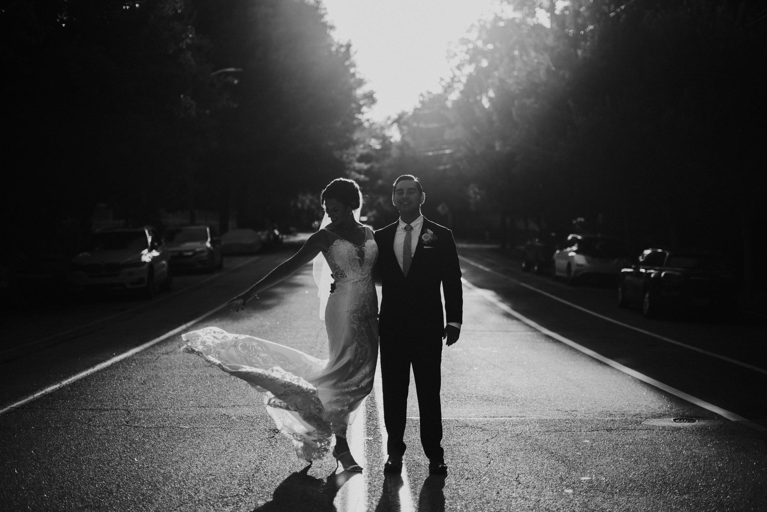 Newlywed portraits during sunset in Atlanta, GA