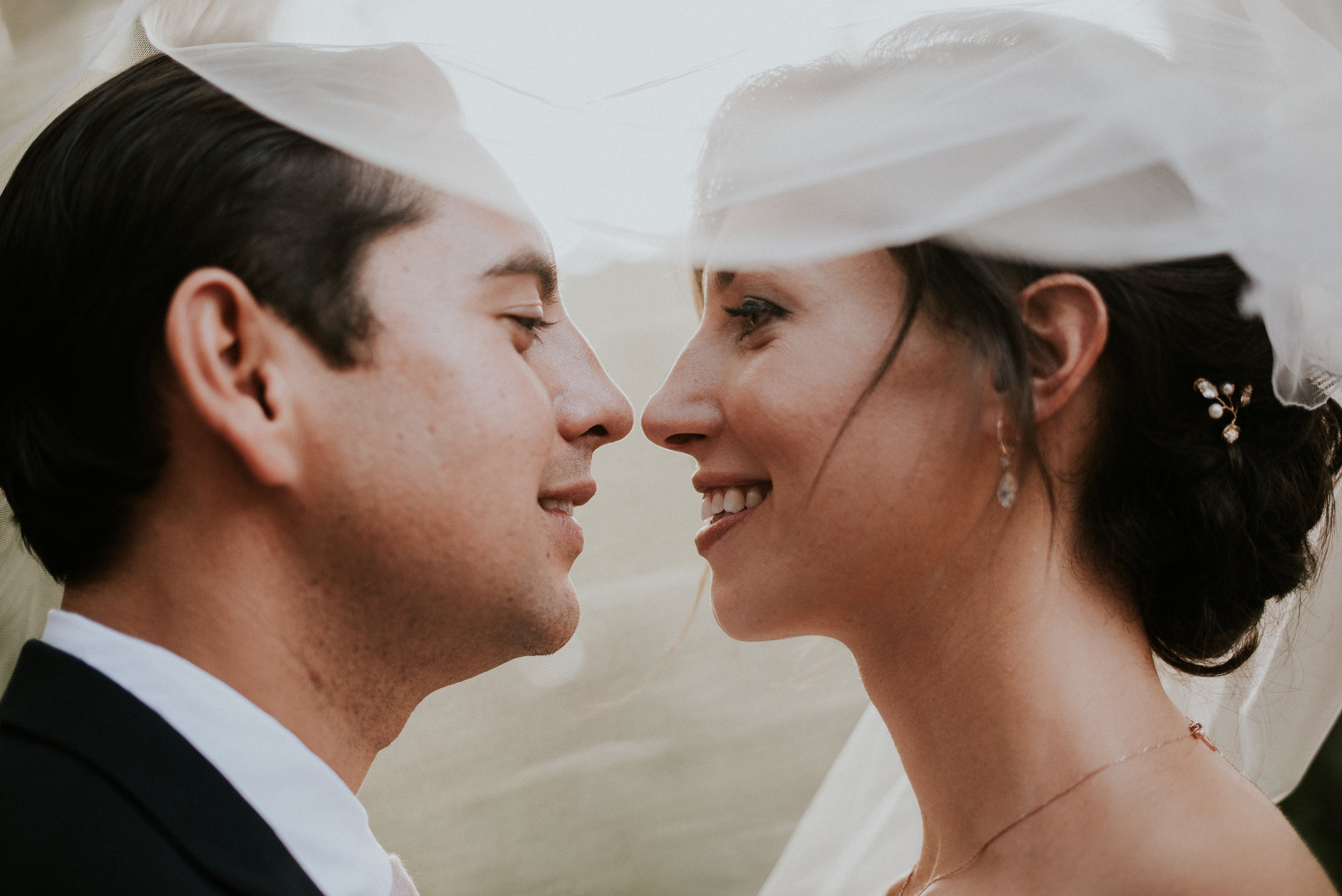 Bride and groom smiling underneath veil