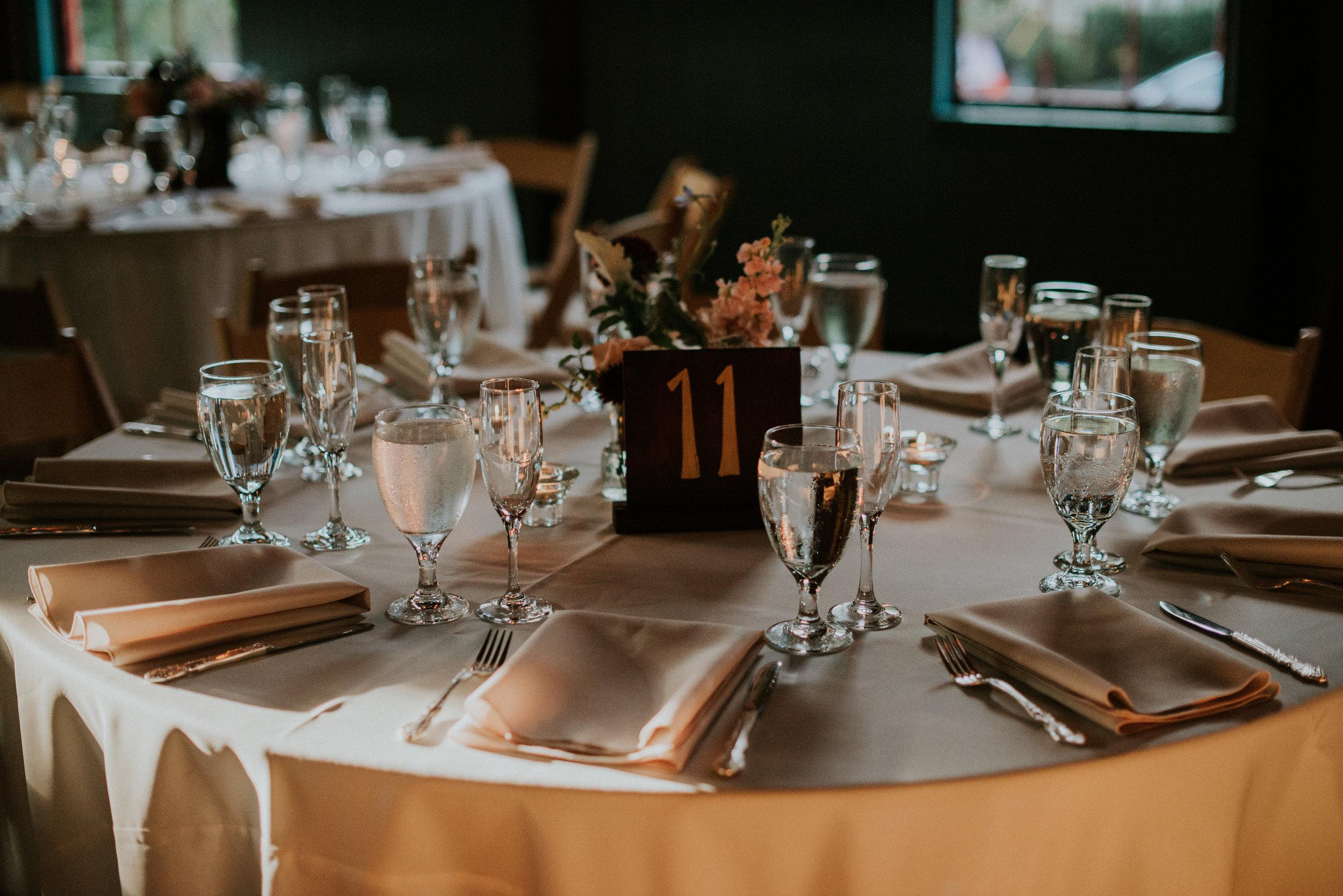 Table details of wedding reception at The Trolley Barn in Atlanta, GA