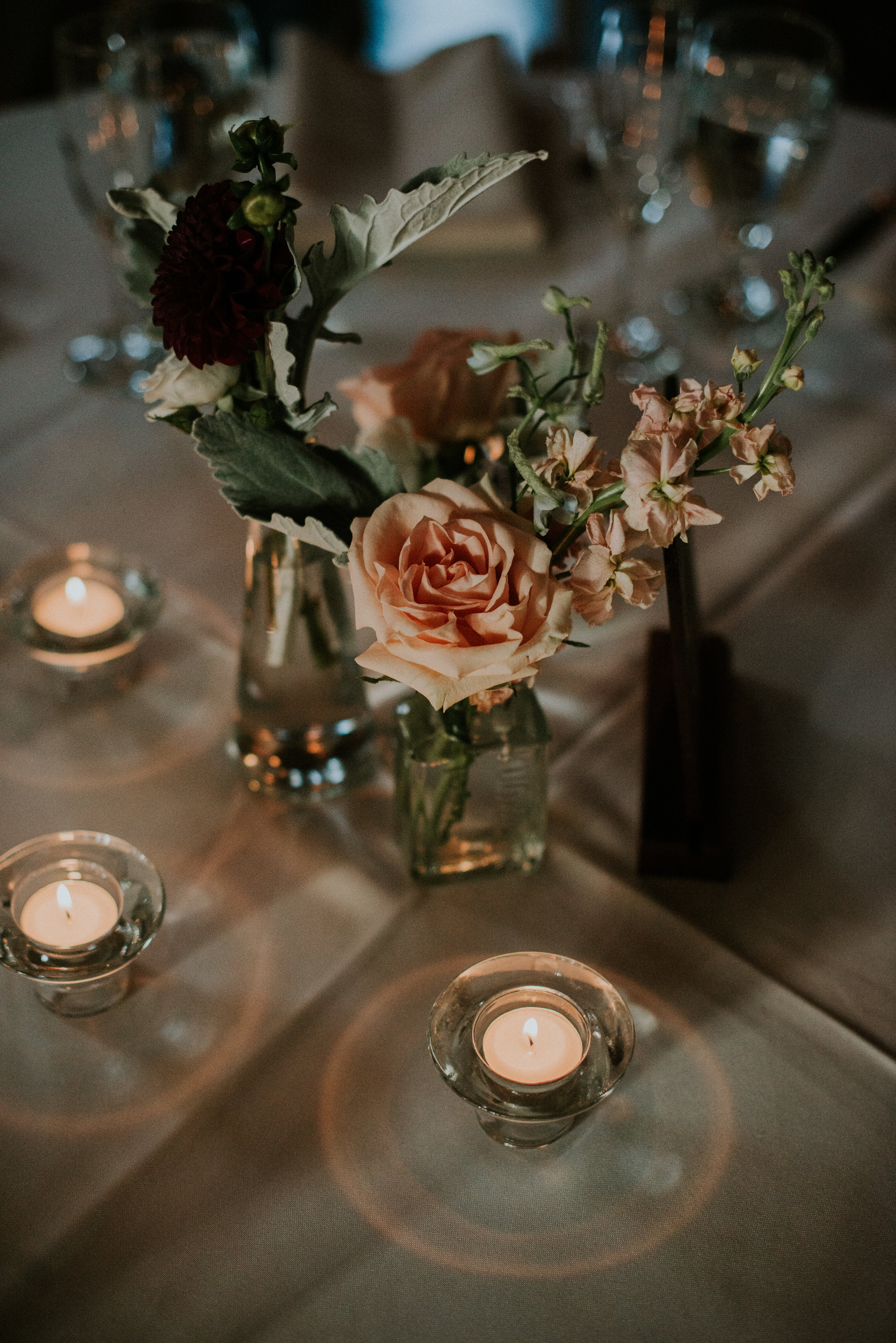 Pastel flowers on wedding reception table