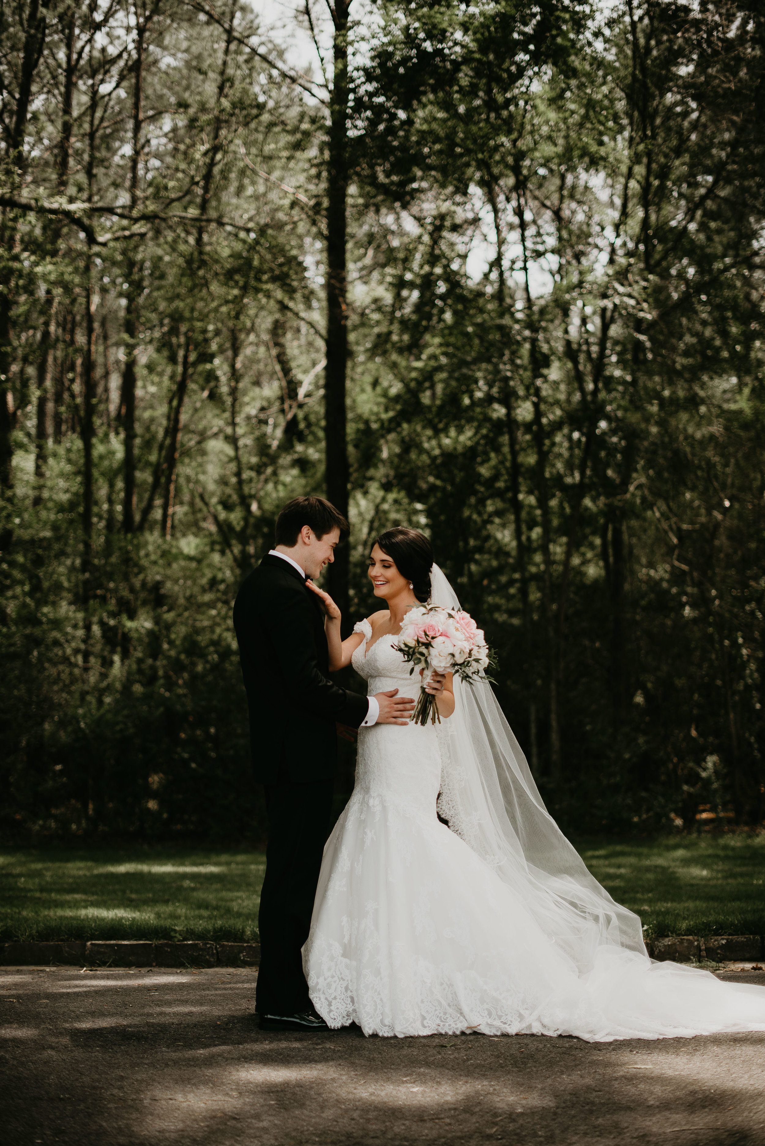 Bride and groom first look reactions at Berry College Wedding