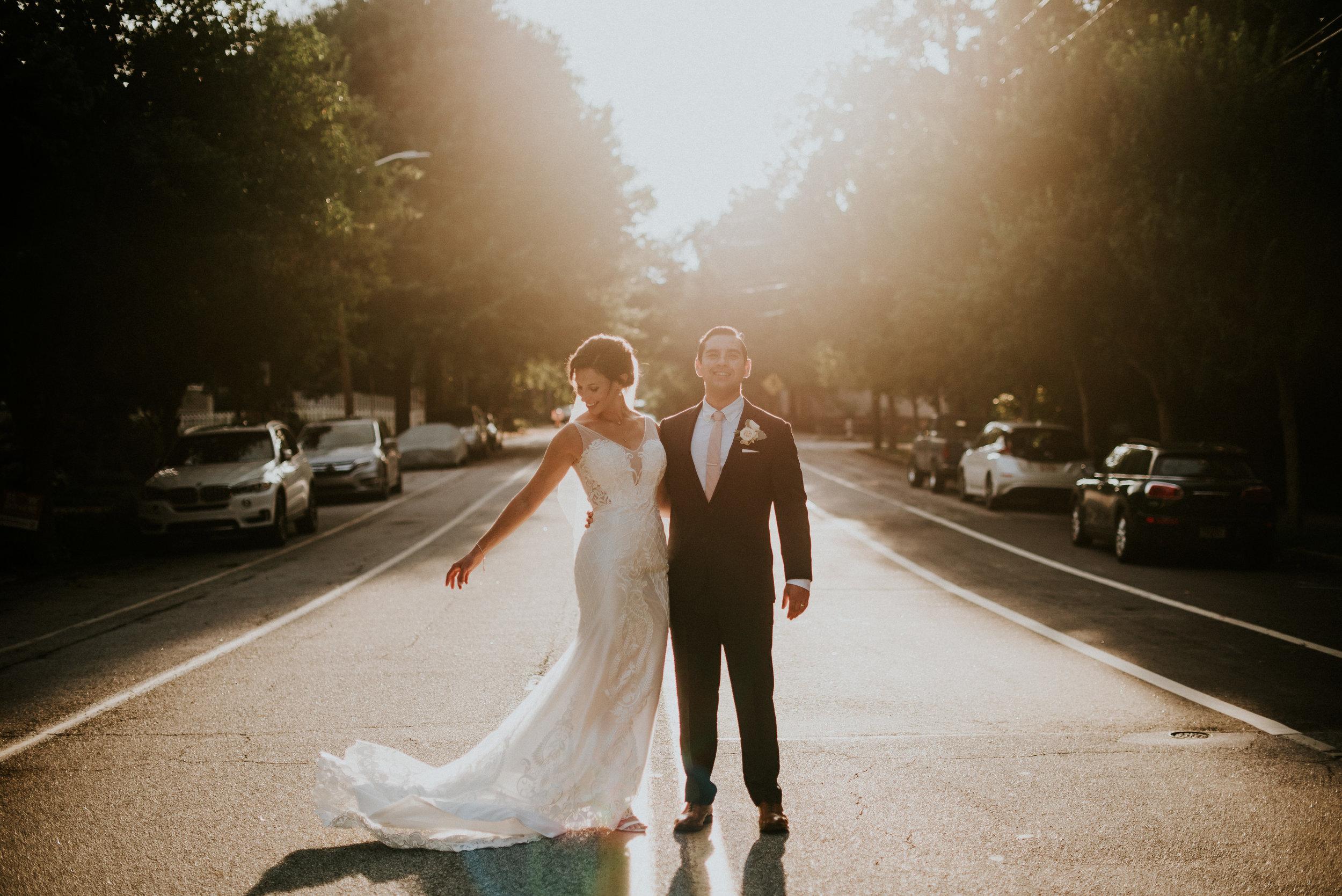 Bride and groom golden hour at The Trolley Barn wedding in Atlanta, GA