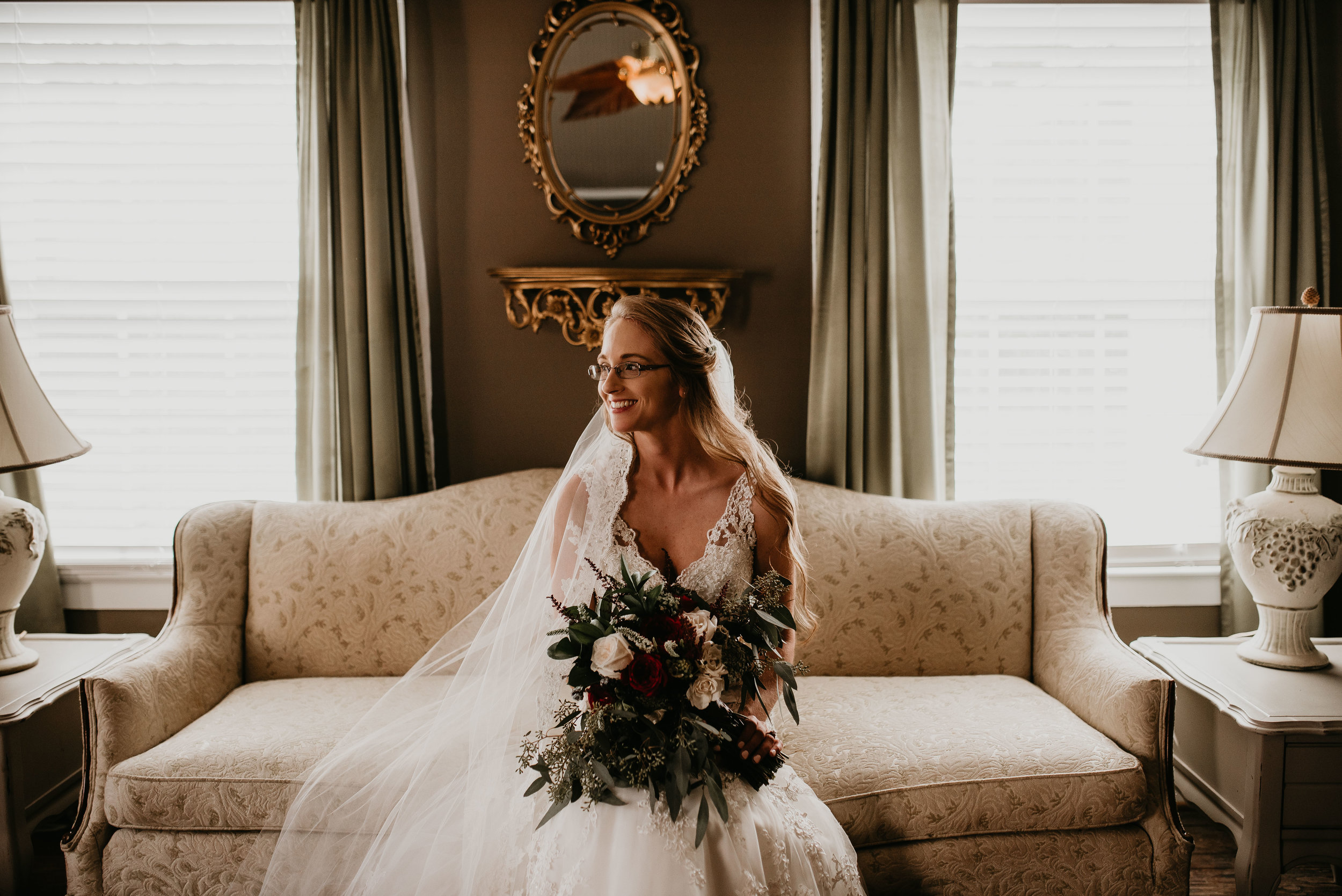 Bride smiling before ceremony at Inn at Oak Lawn Farms, in Carrollton, GA