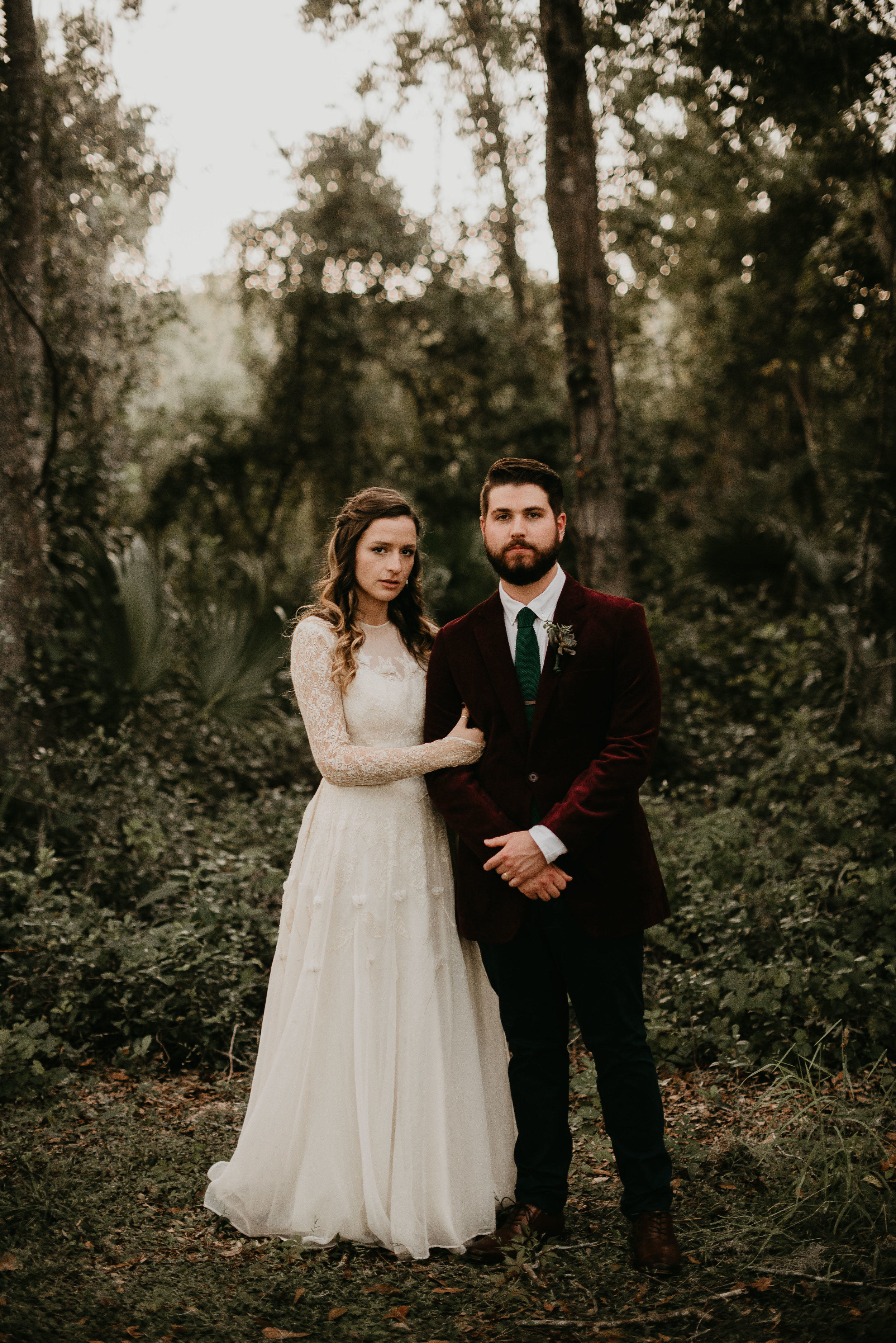 Bride and groom in a forest