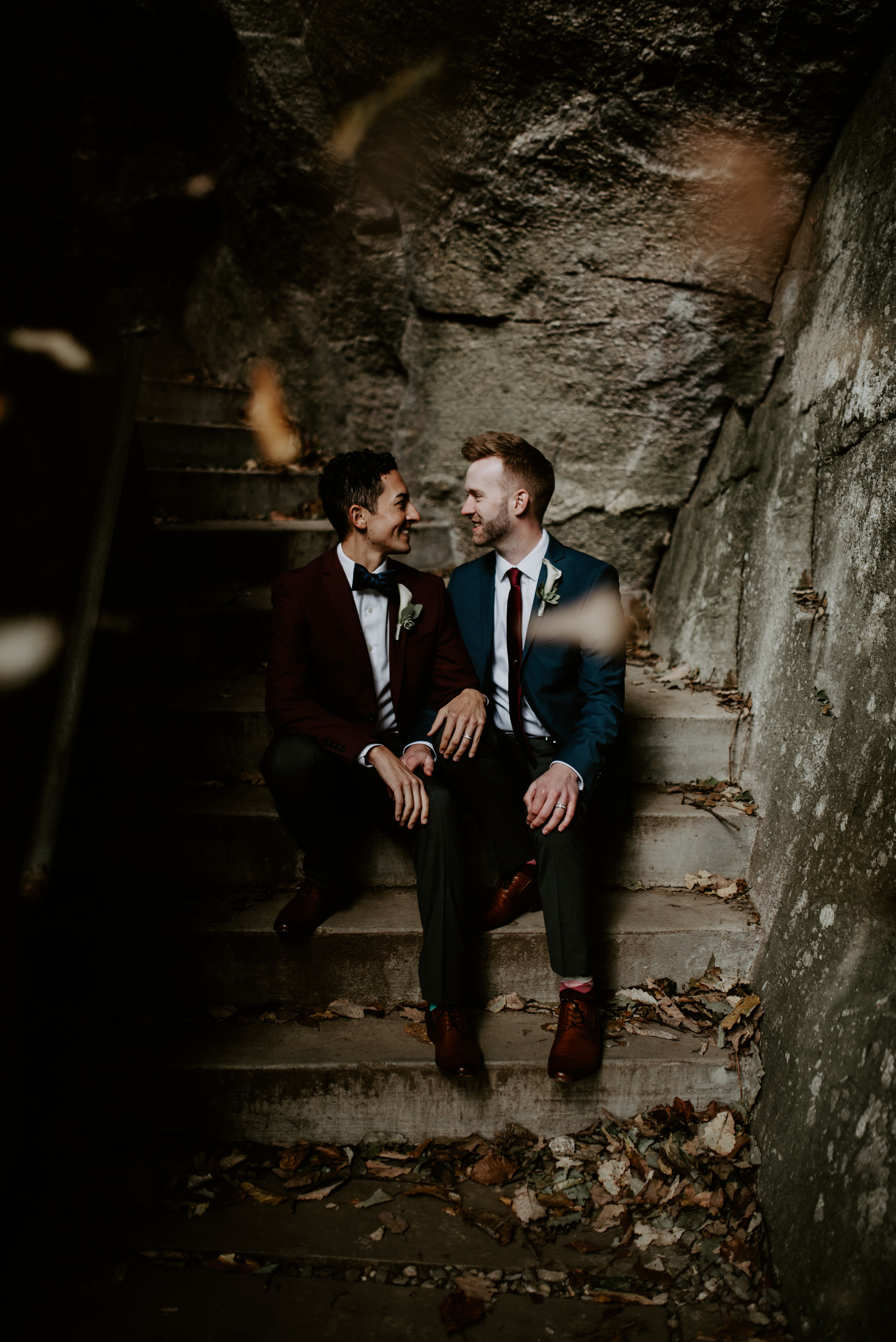 Same-sex couple elopement at Chimney Rock State Park, NC