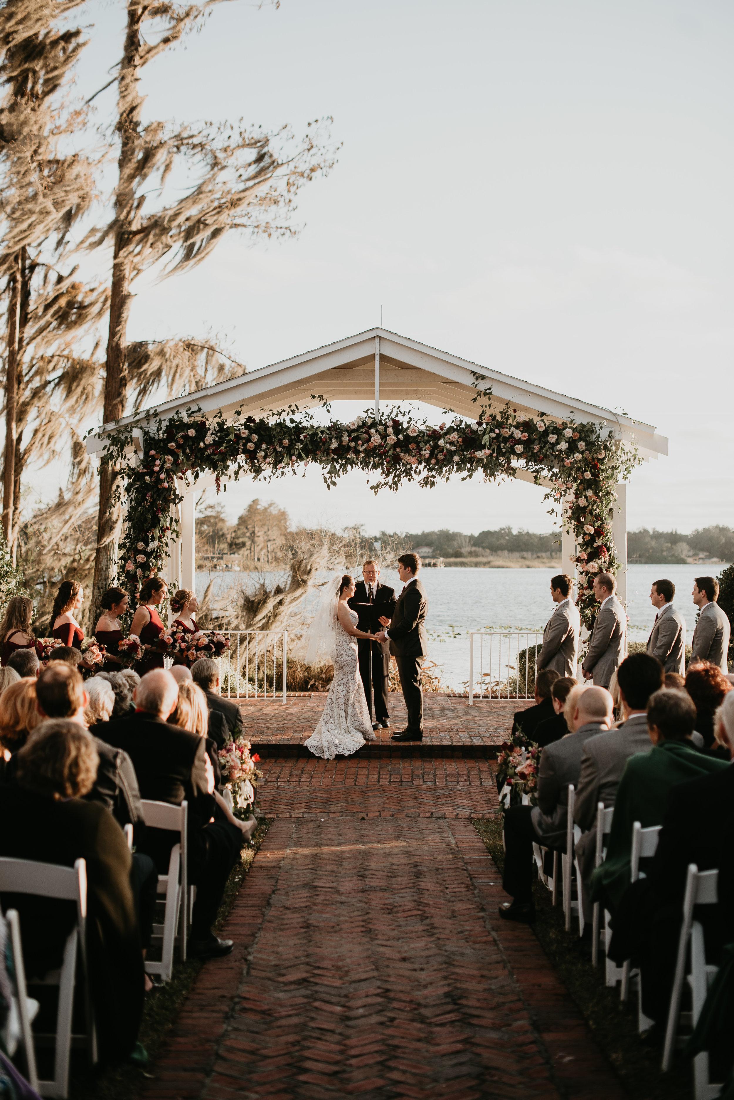 Wedding ceremony at Cypress Grove Estate House in Orlando, FL