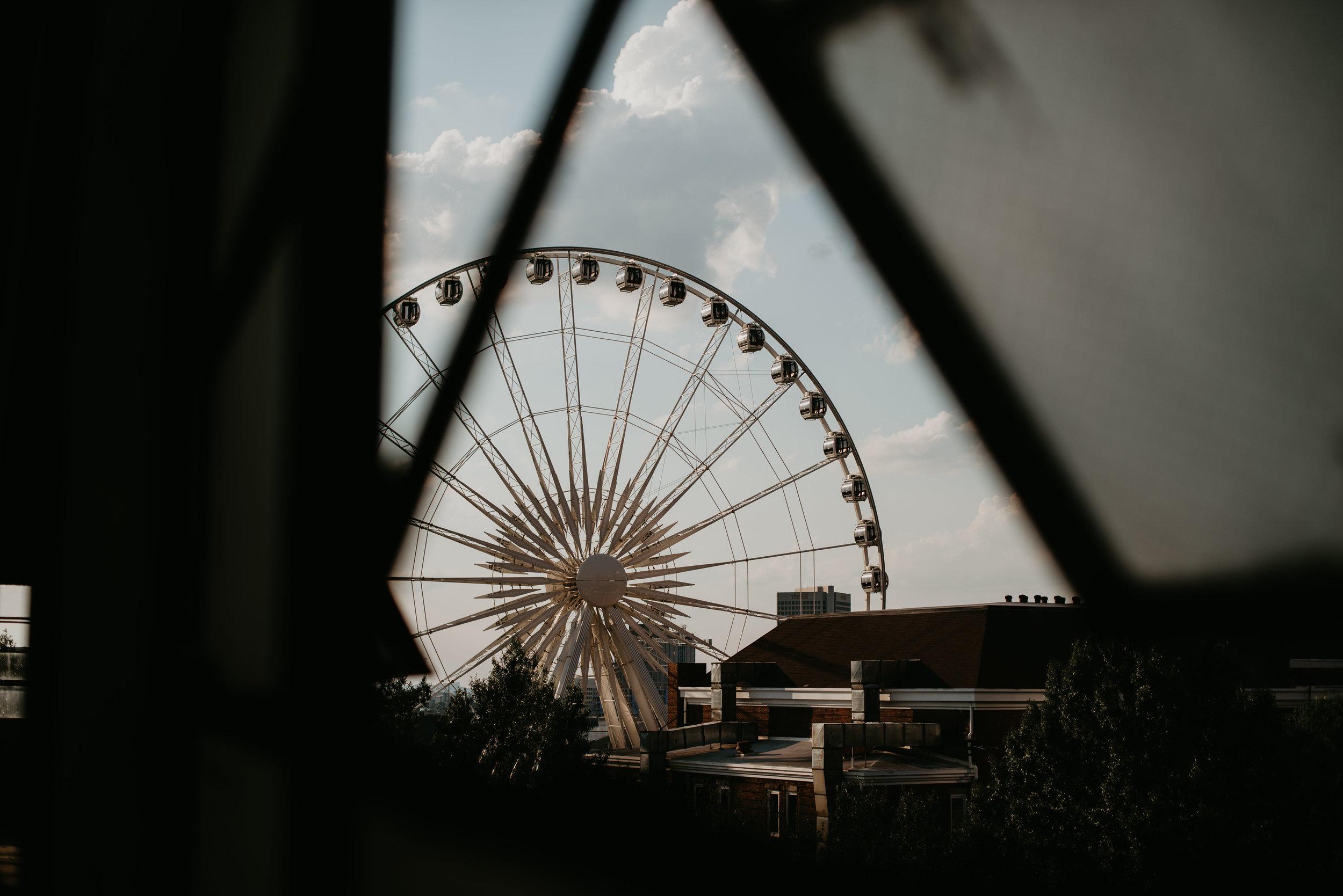 ferris wheel from atlanta rooftop