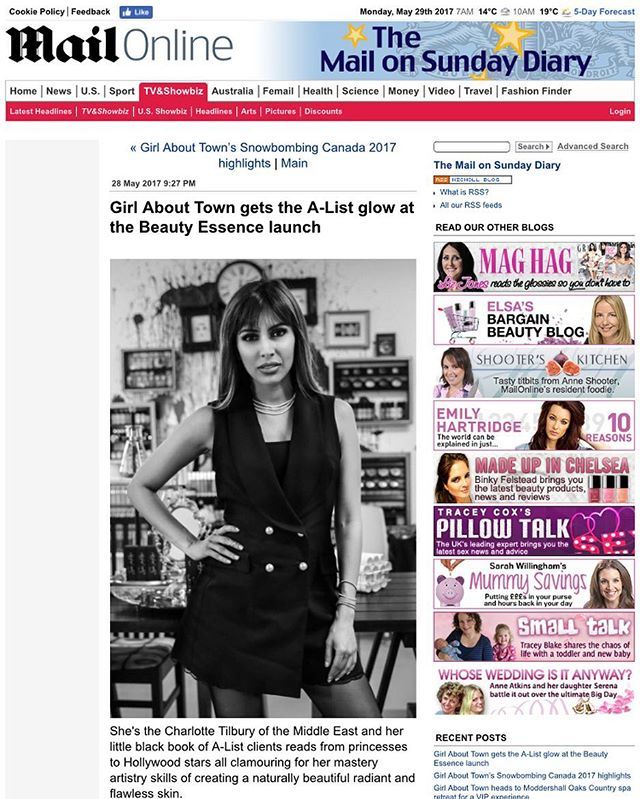 Fab to be featured in today's @dailymail about my launch of my beauty serum in London ♥️🇬🇧♥️ 🗞 #sebybeaute  From the article :  She's the Charlotte Tilbury of the Middle East and her little black book of A-List clients reads from princesses to Hollywood stars all clamouring for her mastery artistry skills of creating a naturally beautiful radiant and flawless skin. But now the UK has access to renowned makeup artist Sabika Al-Rashed's magic ingredient behind it - Beauty Essence Radiance Glow Lotion - and Girl About Town was given an invite to its private launch party at the House of Glamdolls Studio.