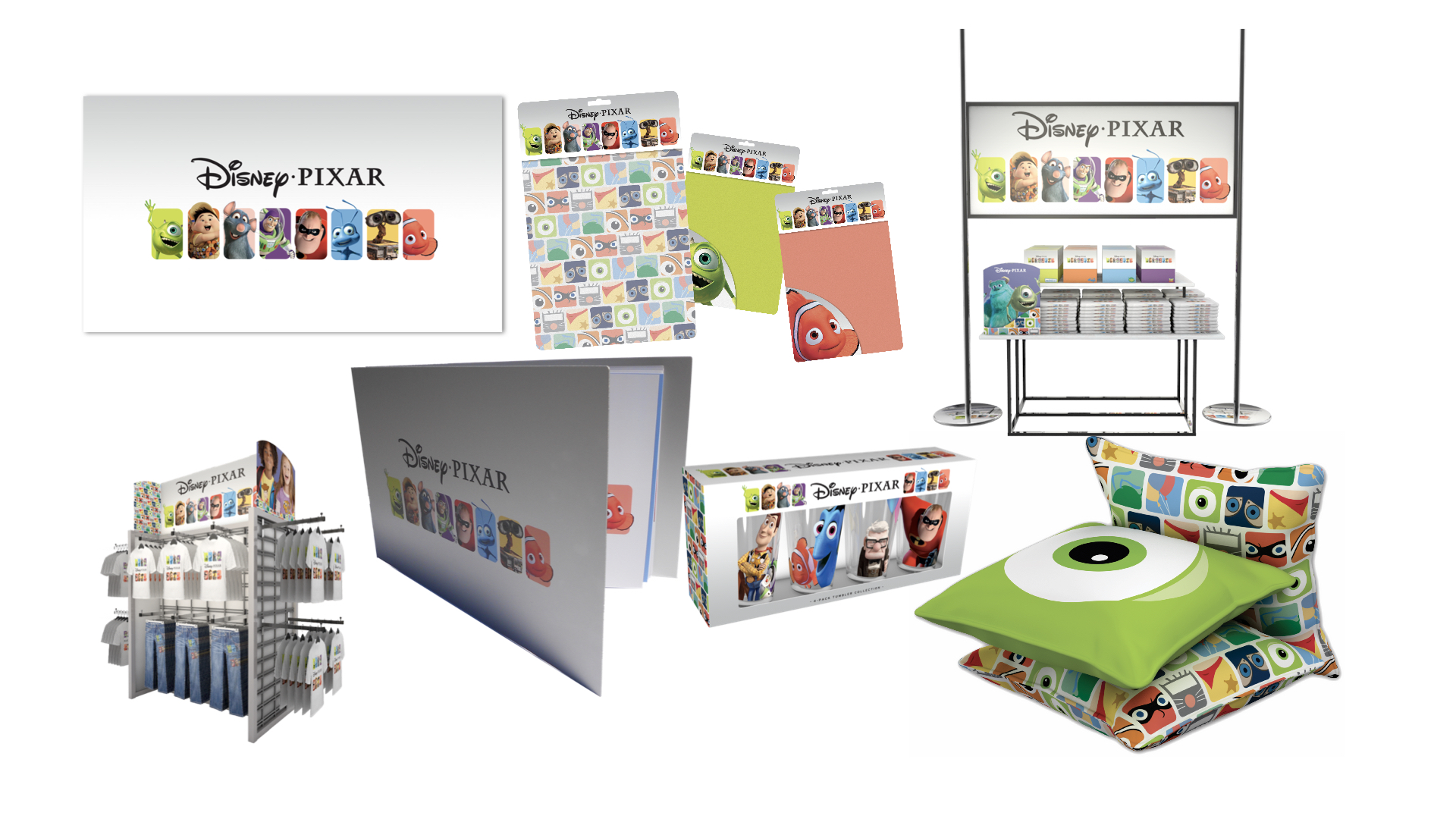 We conceptualized the Disney Pixar merchandise program and designed the packaging.