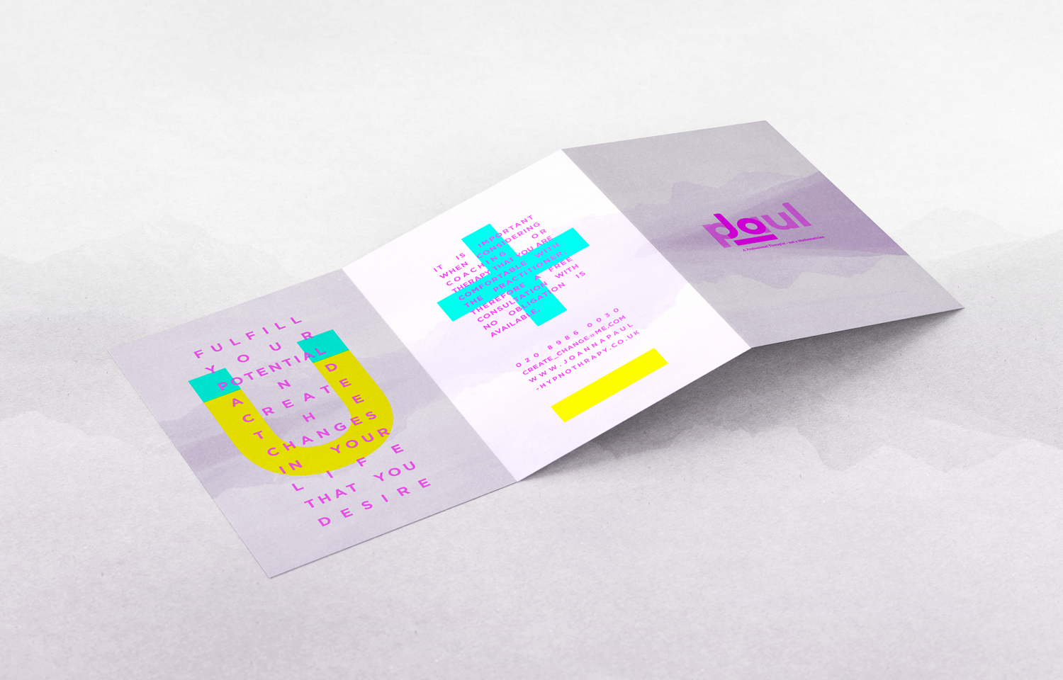 Tri-fold leaflet: back and outer spreads, design for Jo Paul.