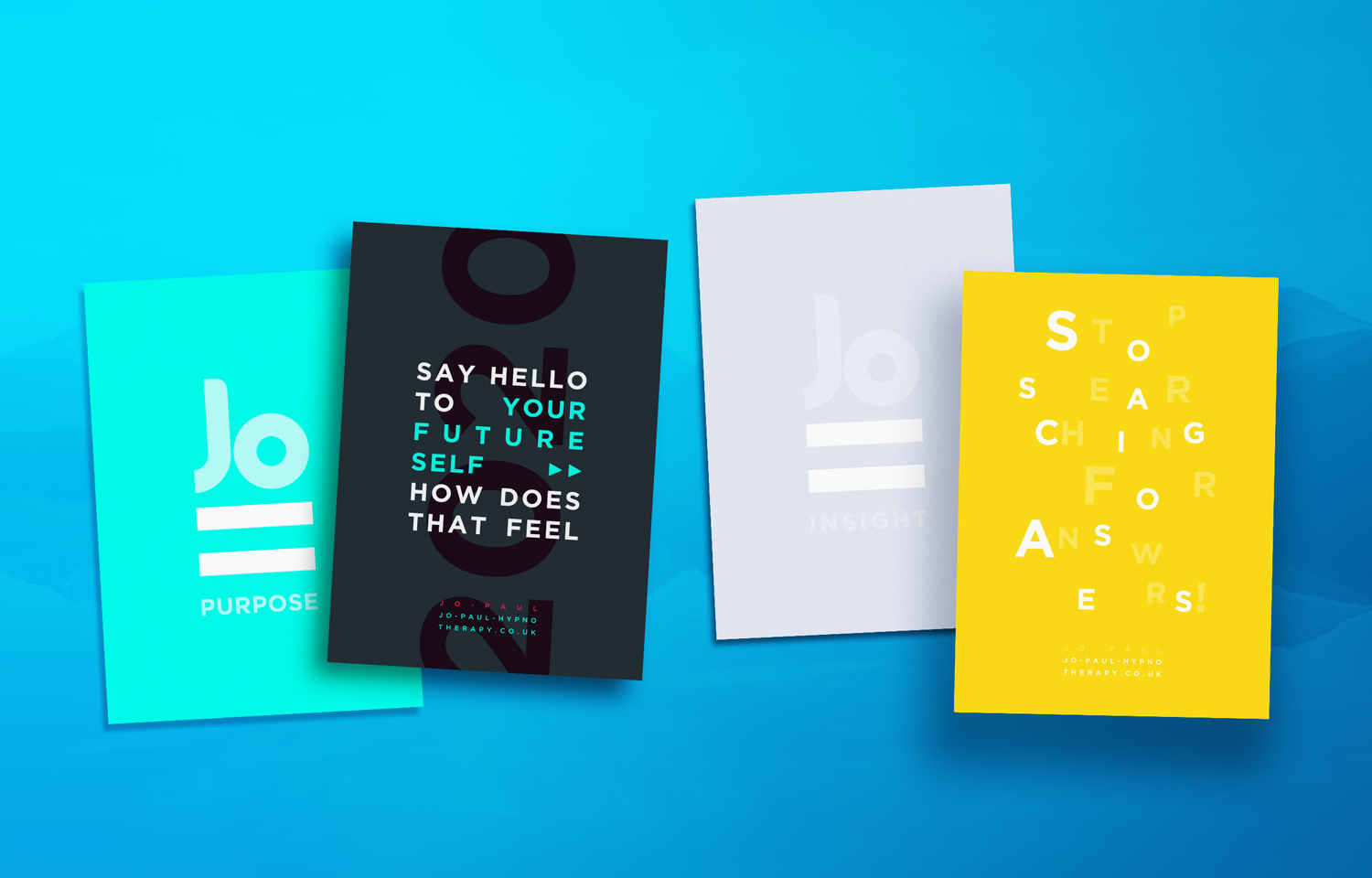 A set of cards designed for marketing Jo Paul.