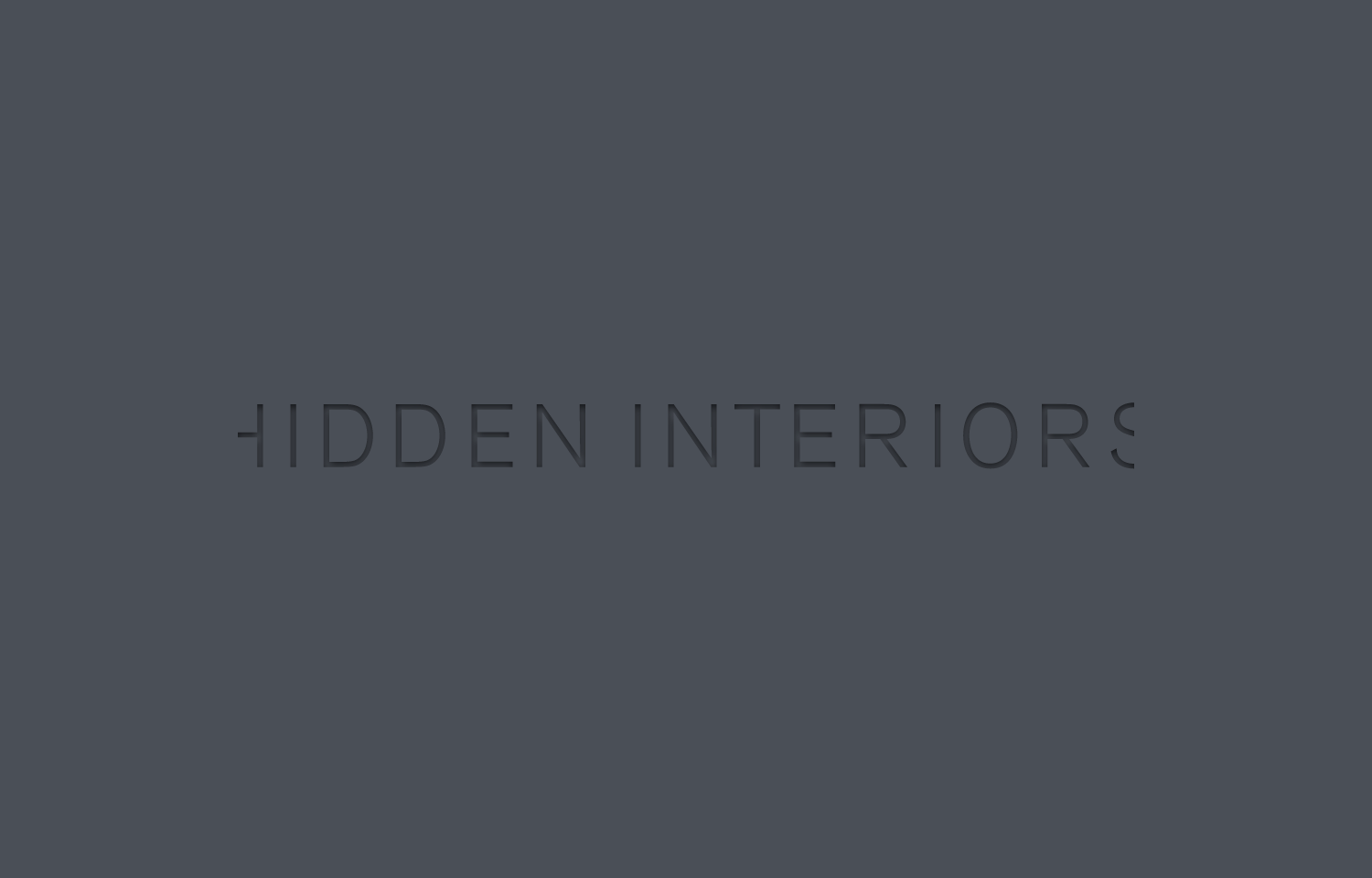 Hidden Interiors logo design, grey on grey.