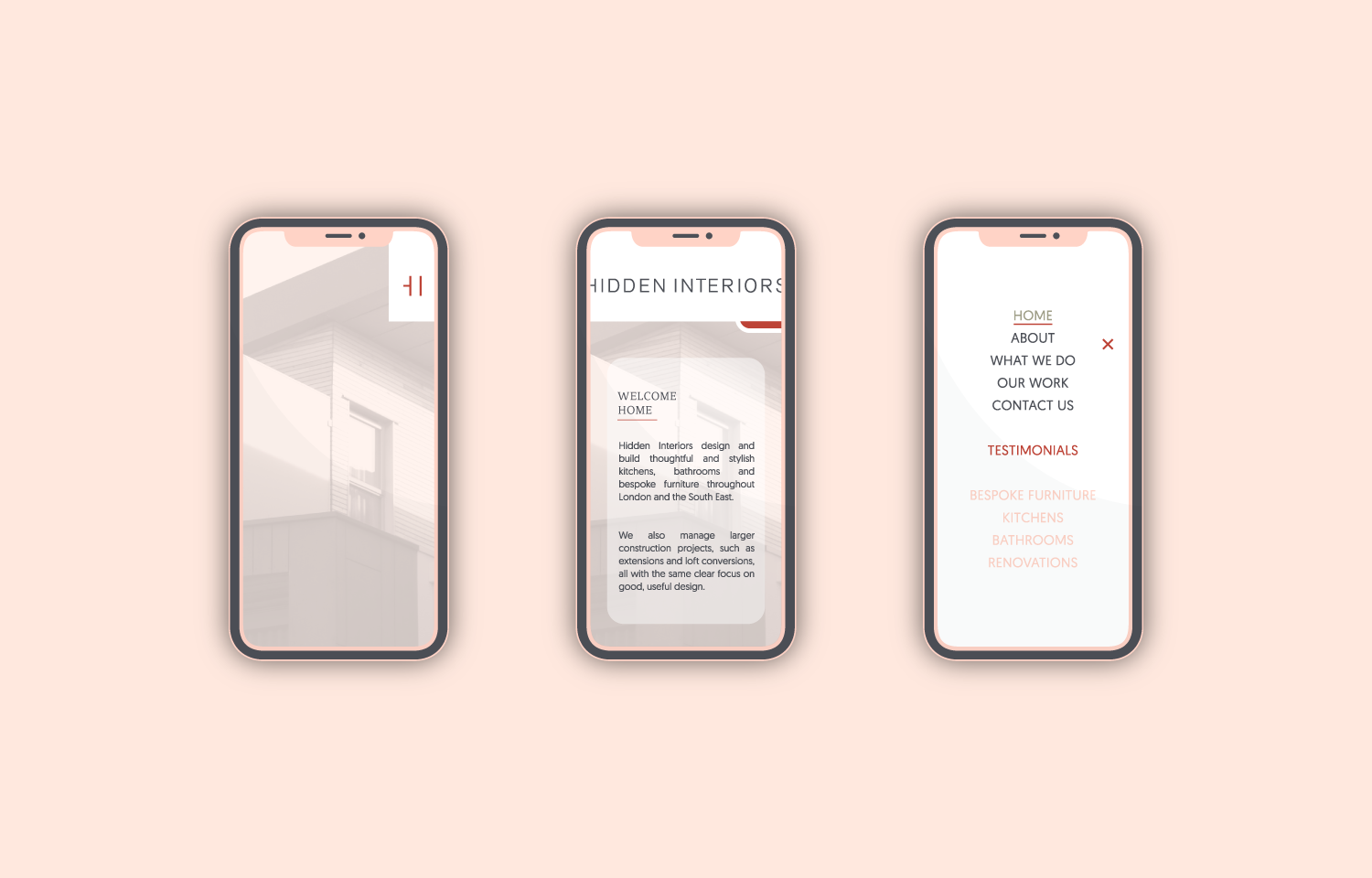 Hidden Interiors website designed for mobile.