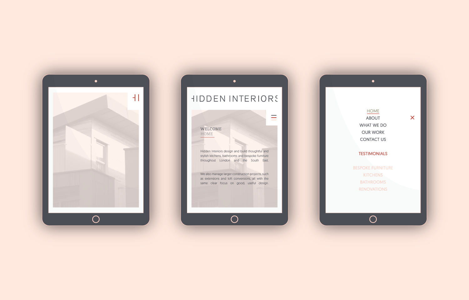 Hidden Interiors website designed for mobile (tablet view).