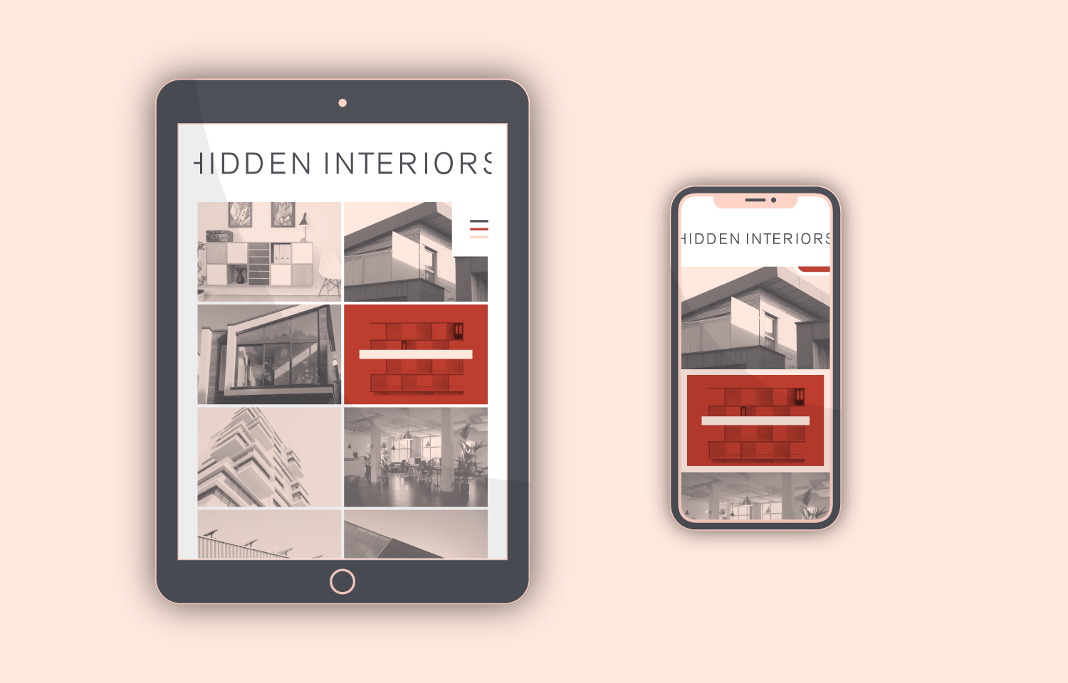Mobile design (tablet & mobile view) for Hidden Interiors website.
