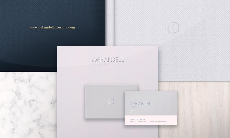 Clean, elegant stationery set designed for Debandell Interiors.