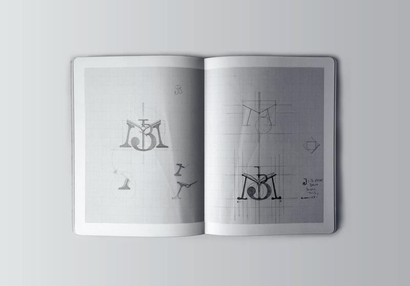 Sketching process for monogram design.