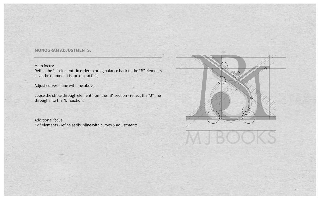Refinements  for M J Books monogram.