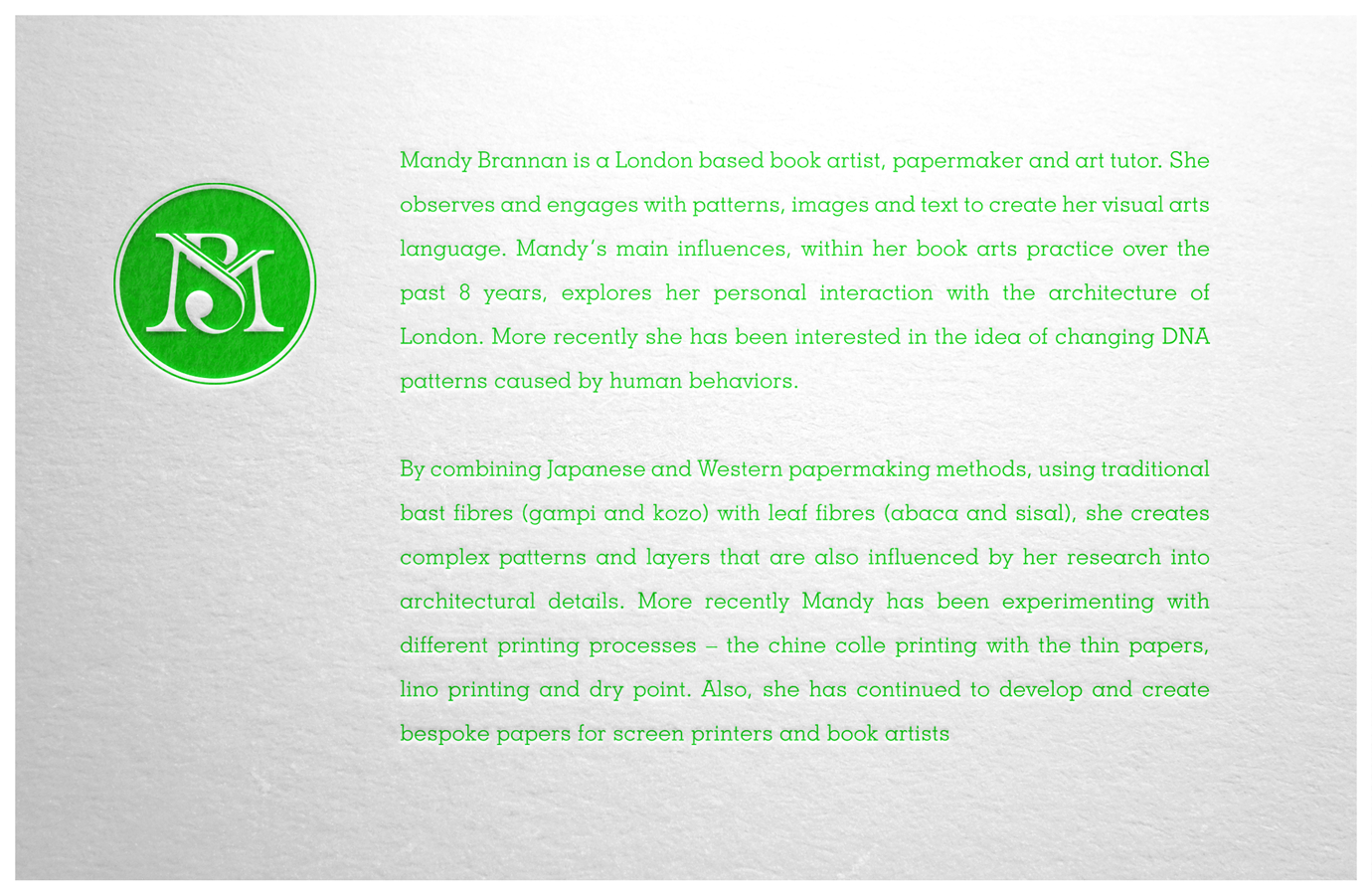 Info card about book artist and educational lecturer, Mandy Brannan.