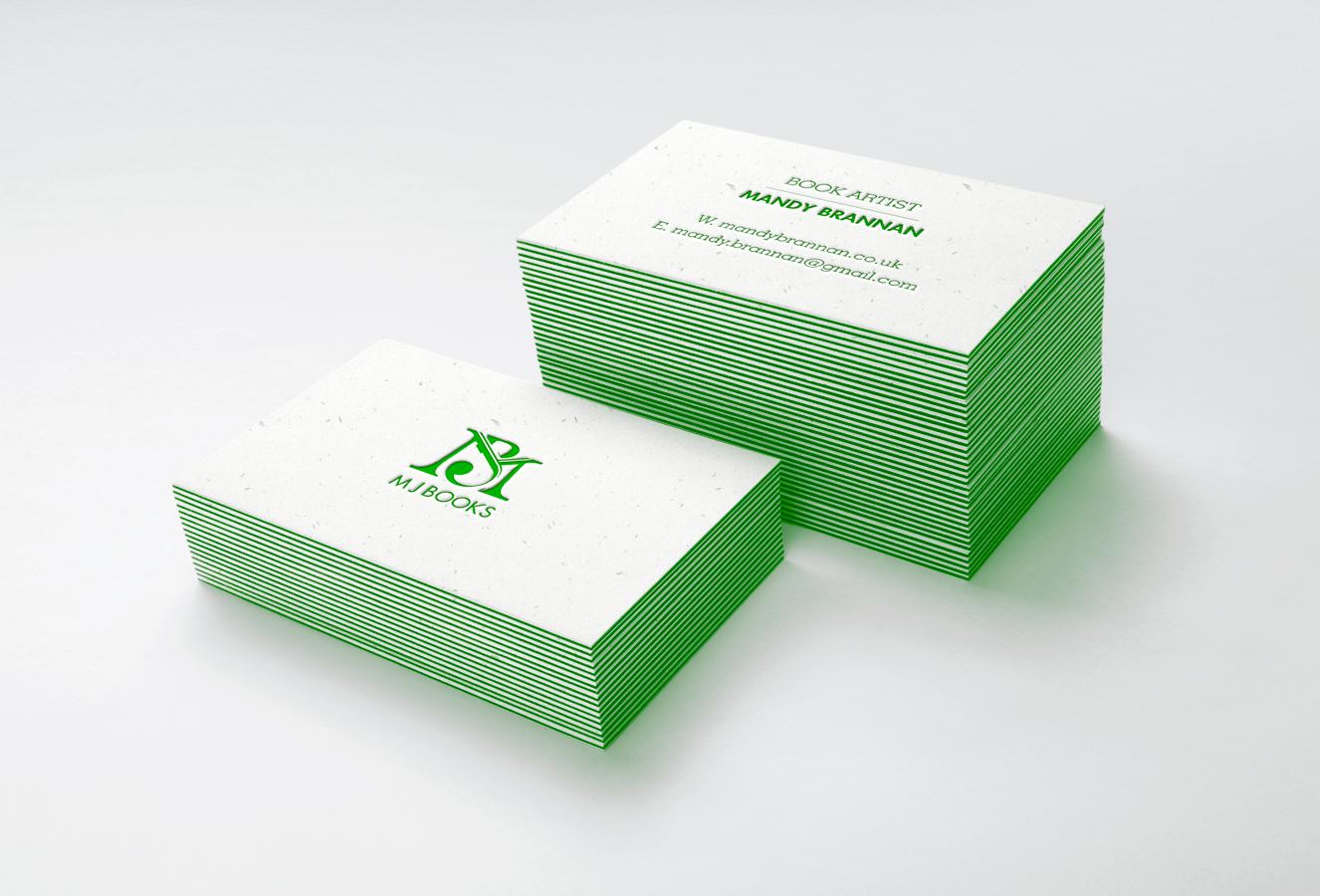 Business card design for book artist Mandy Brannan.
