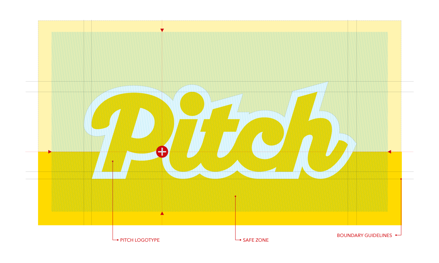 logo design for the Pitch Fanzine with guidelines.