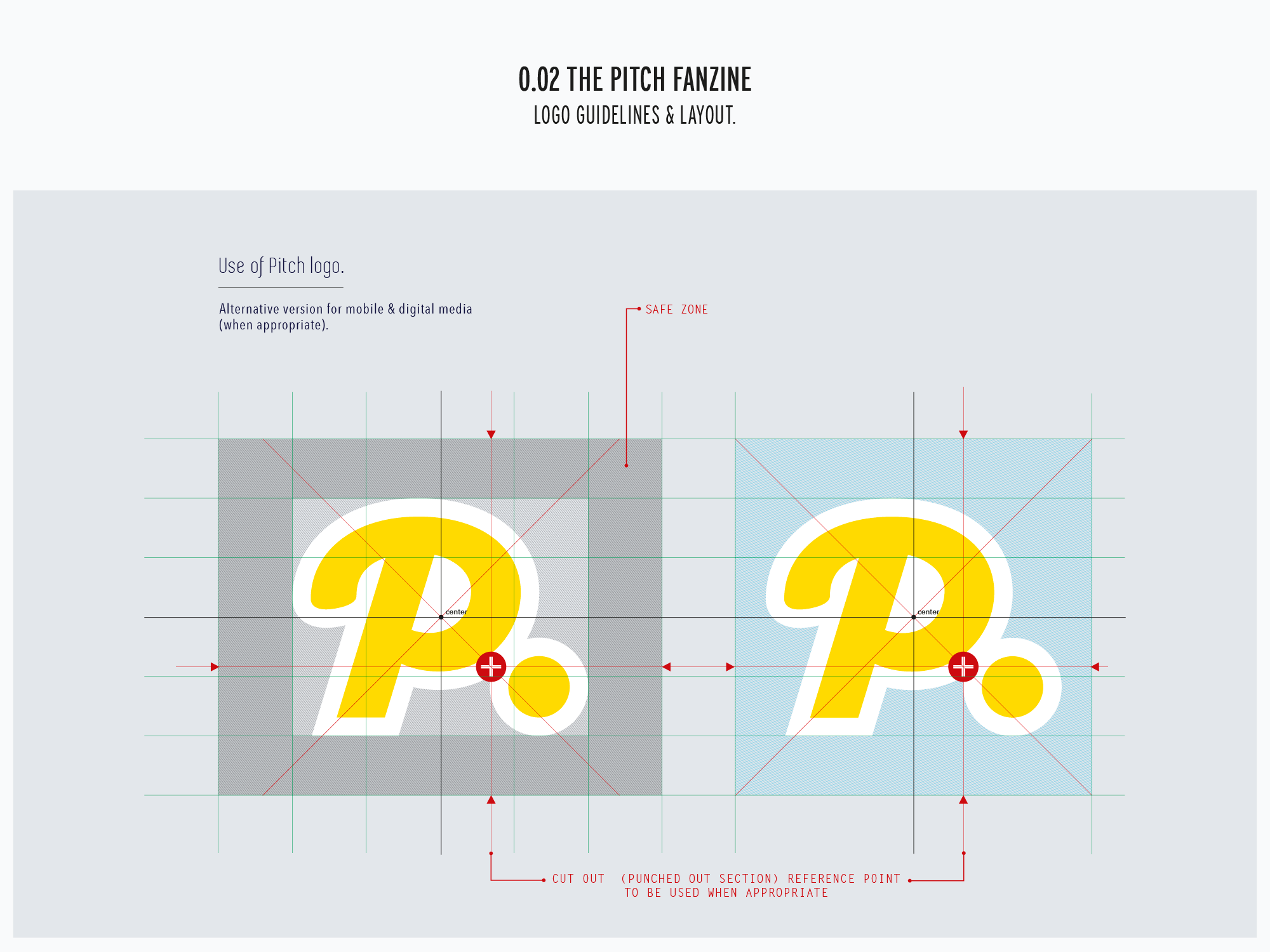 Pitch logo adapted for mobile layout and guides.