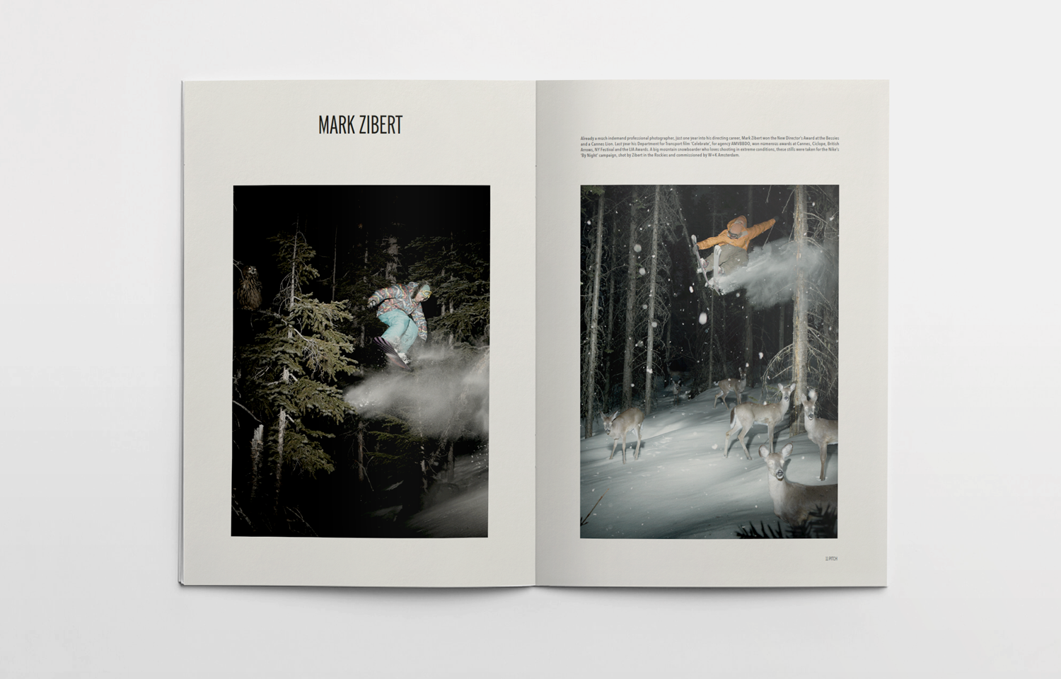 Editorial design featuring images from photographer and film director, Mark Zibert.