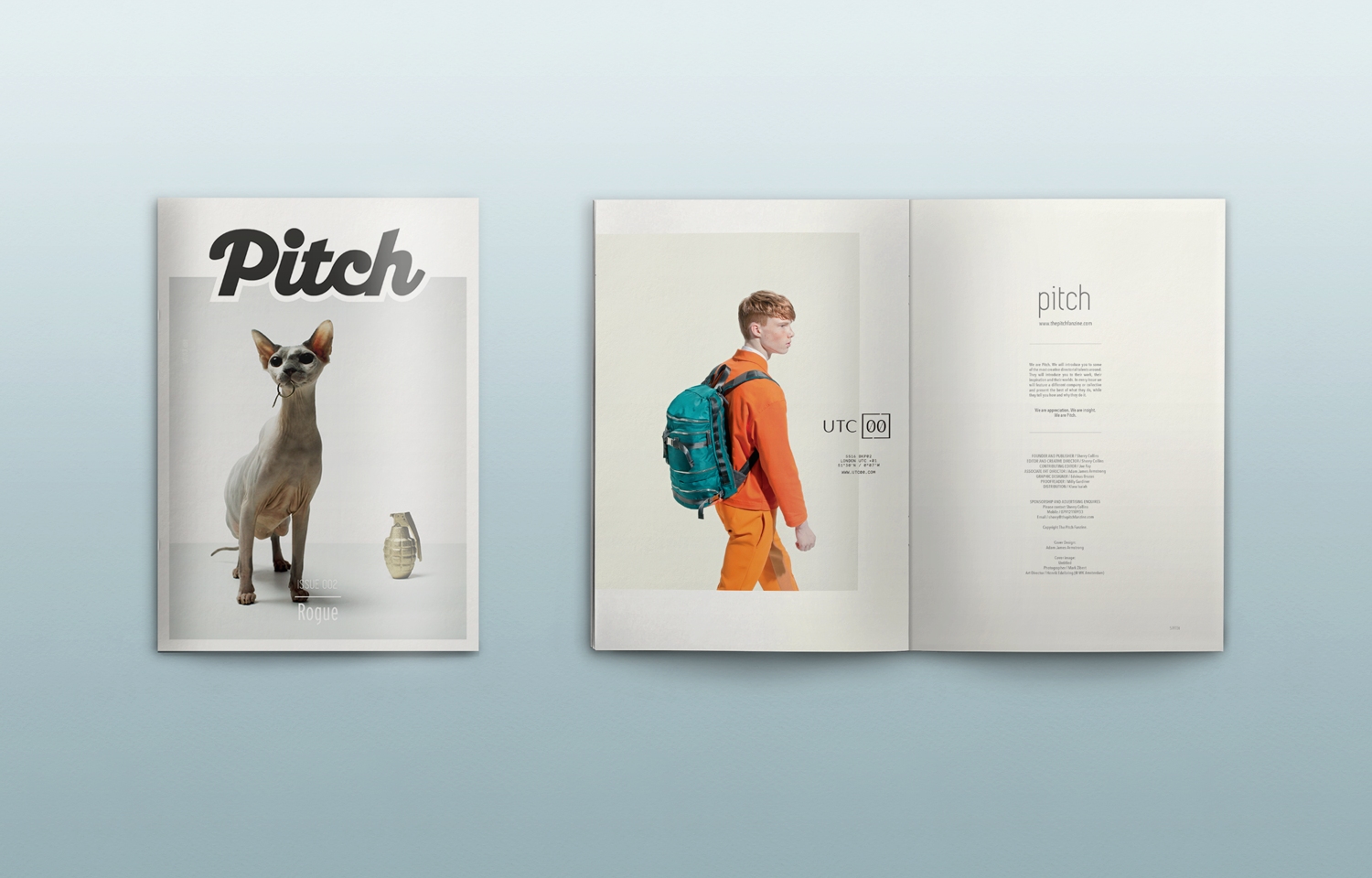 Editorial design for the Pitch Fanzine issue 02, featuring the work of Rogue films.