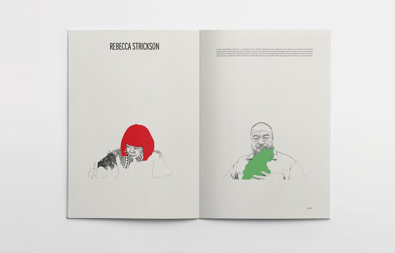 Editorial spread featuring Rebecca Strickson for the Pitch fanzine.