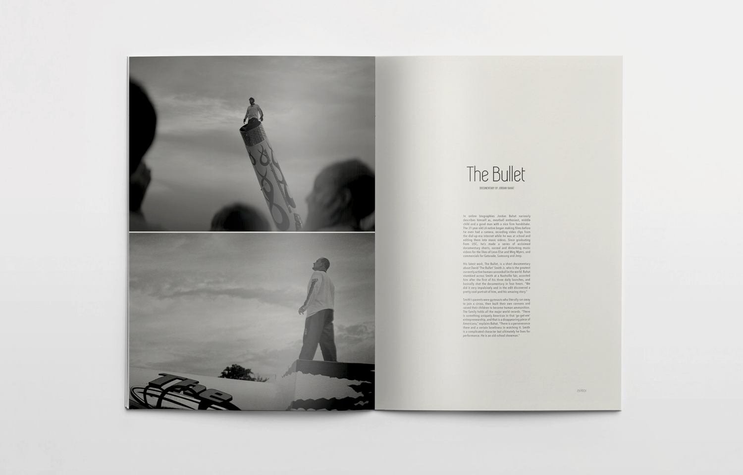 Editorial design for Pitch magazine showcasing The Bullet, a documentary by Jordan Bahat.