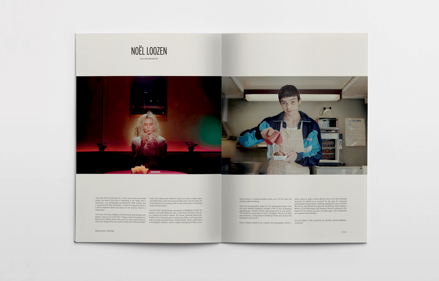 Editorial design for Pitch featuring the work of Halal Amsterdam director, Noël Loozen.