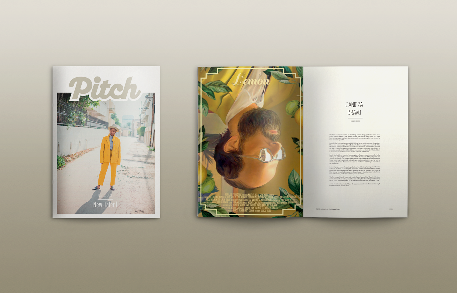 Editorial design for Pitch featuring New Talent within the creative industry.