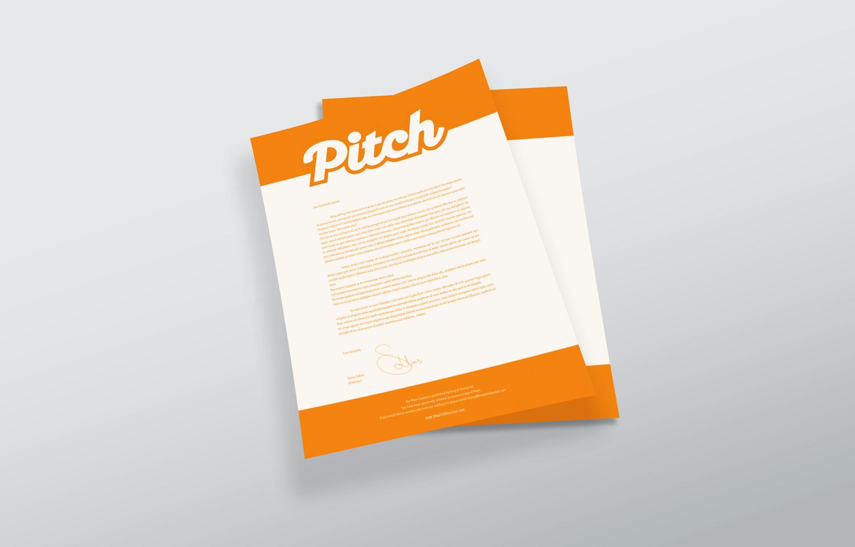 Letterhead designed for the Pitch Fanzine: orange.