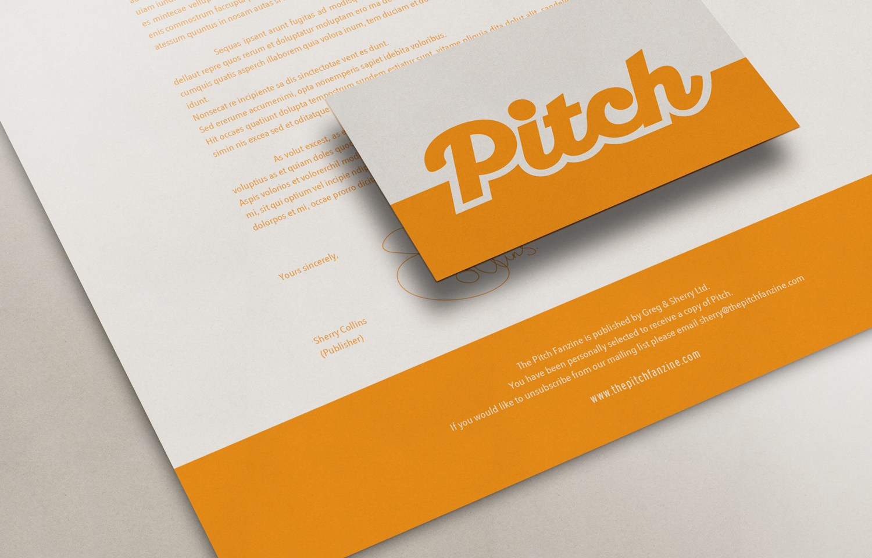Stationery design for the Pitch Fanzine: orange.
