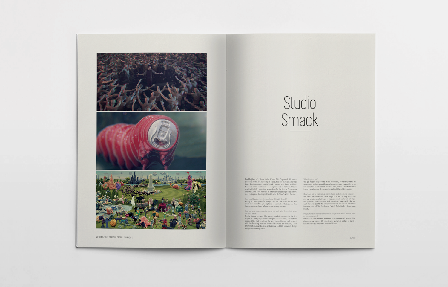 Editorial design for Pitch featuring the work of Studio Smack.