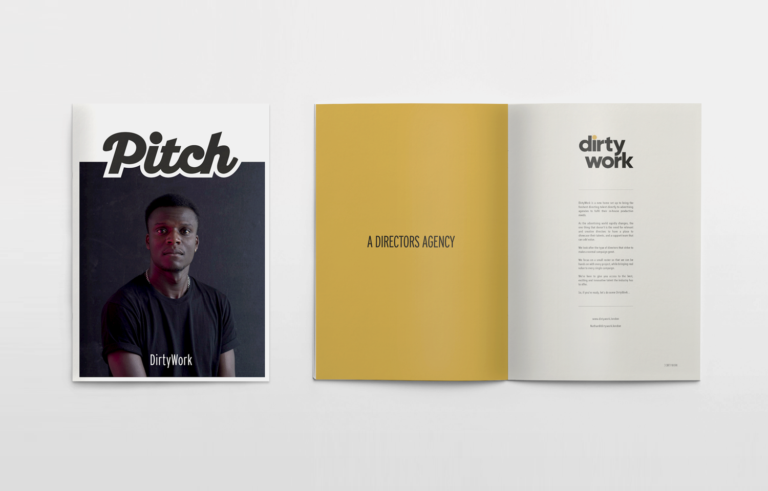 Editorial design for Pitch supplement featuring the directors agency; Dirty Work.