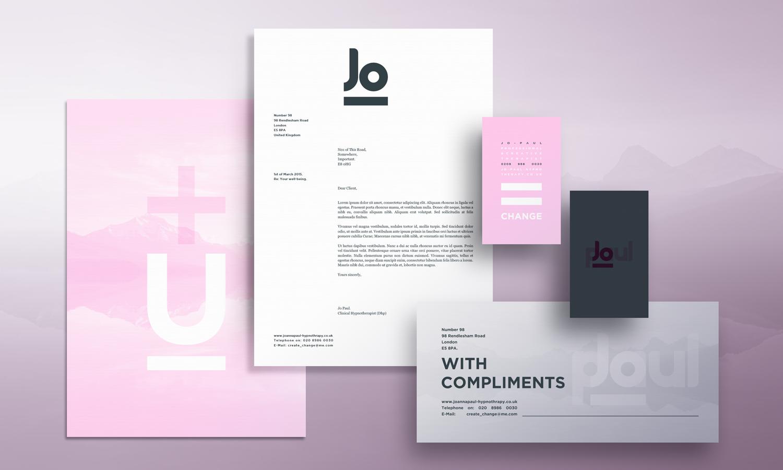 Stationery design for creative therapist Jo Paul.