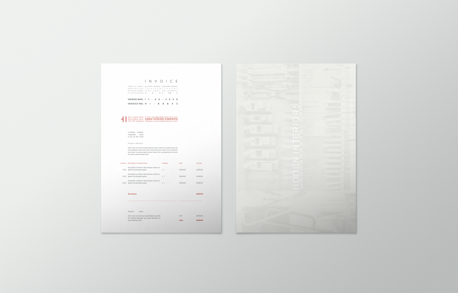 Stationery design: invoice for Hidden Interiors.